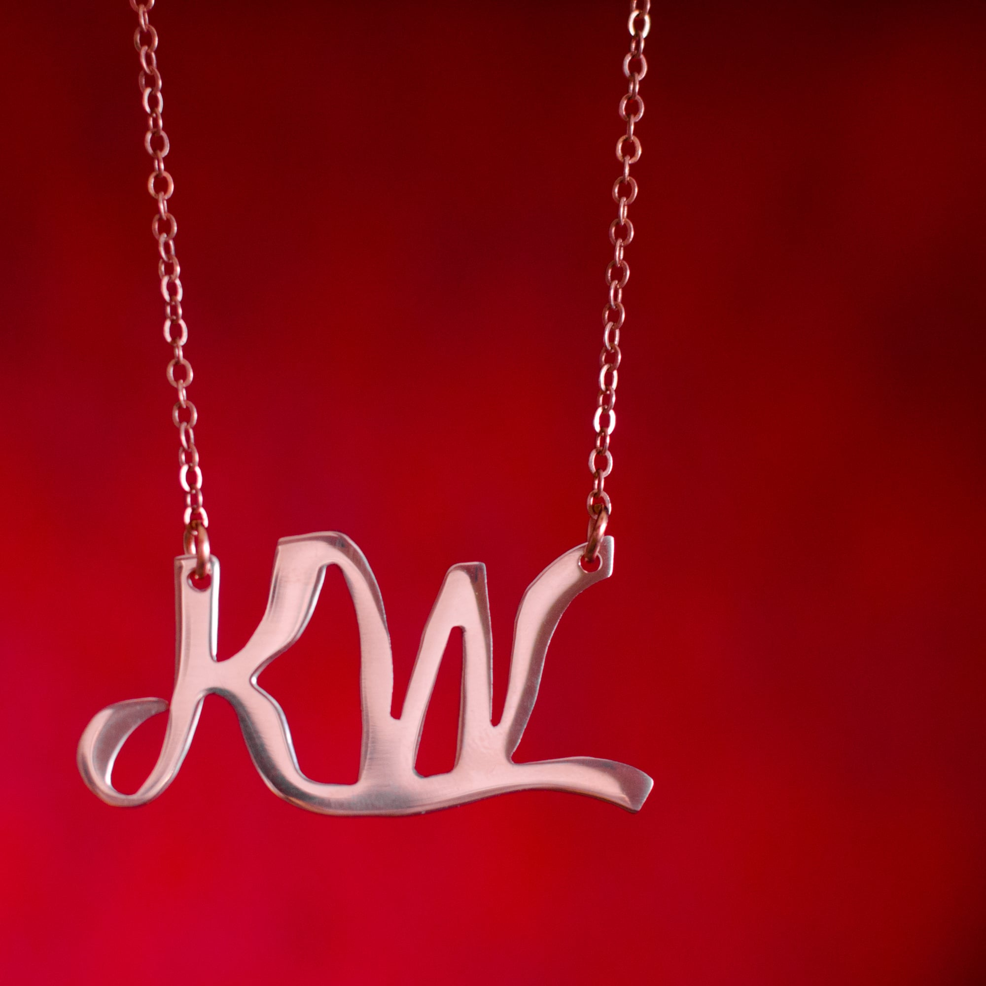 """KW"" Initial Necklace"