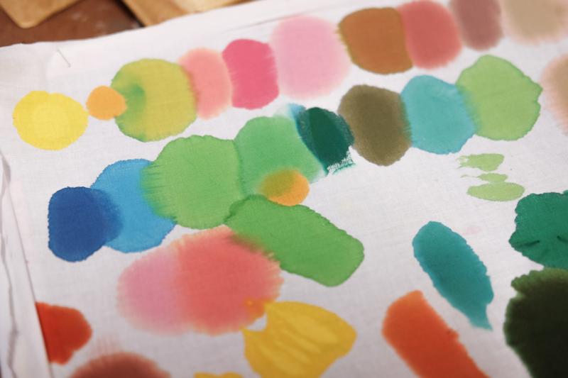 Mixing dye test spots