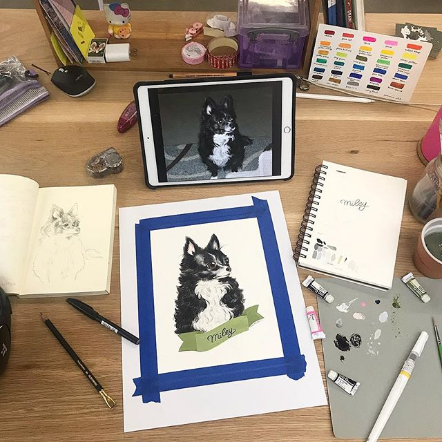 Rainy day desk vibes ⛈ Painting a beloved pup for a friend's Mother's Day gift 💜