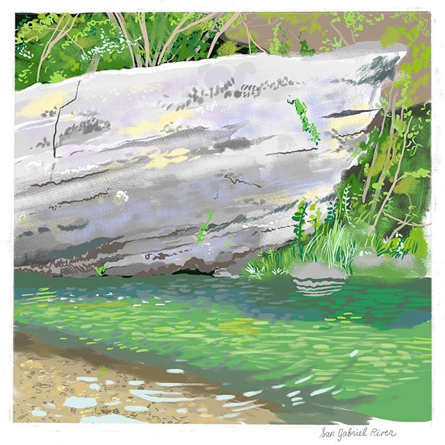 Sunday afternoon/evening spent painting by the river drinking beers while Stephen caught a bunch of tiny fish 🎣 🍻 #paintingstudy #atxillustrator #sangabrielriver