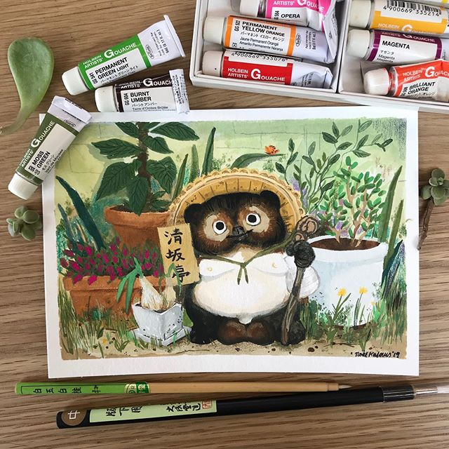 "Lucky Tanuki-san in his garden 🌿 5x7"" gouache on paper. #たぬき  #tanuki #tinypainting #gouachepainting #holbein #holbeingouache #gouachepaint"