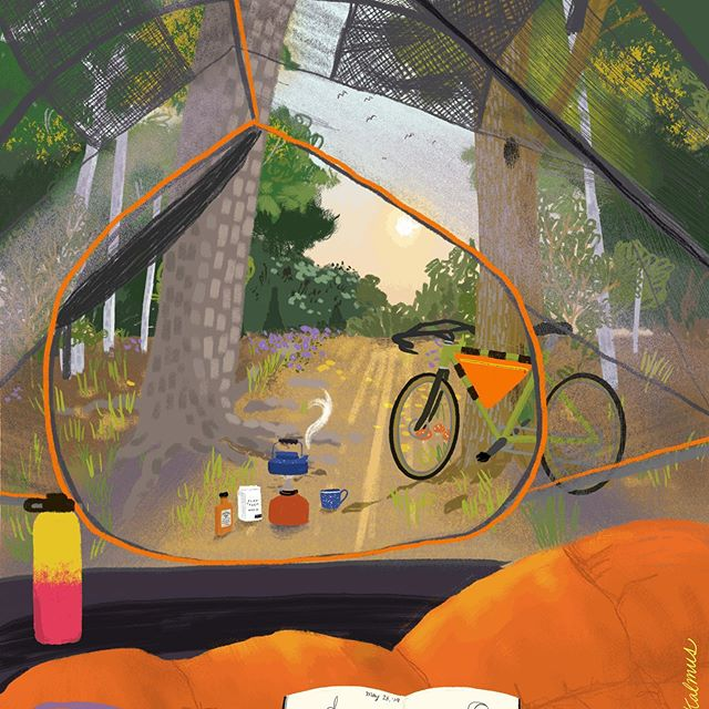 Exploring golden morning light and pushing myself to play with the interaction of light/color in my drawings... when was the last time you woke up to a scene like this? It's been a long time for me. #illustrated #illustrationdaily #atxillustrator #atxartist #atxart #austinartist #austinart #bikecamping #viewfrommytent #tentcamping #coffeeoutside #procreateillustration #womenwhodraw #optoutside #outsideisfree #outsideisfred #dowhatyouwant #sleepingoutside #campinglife⛺️