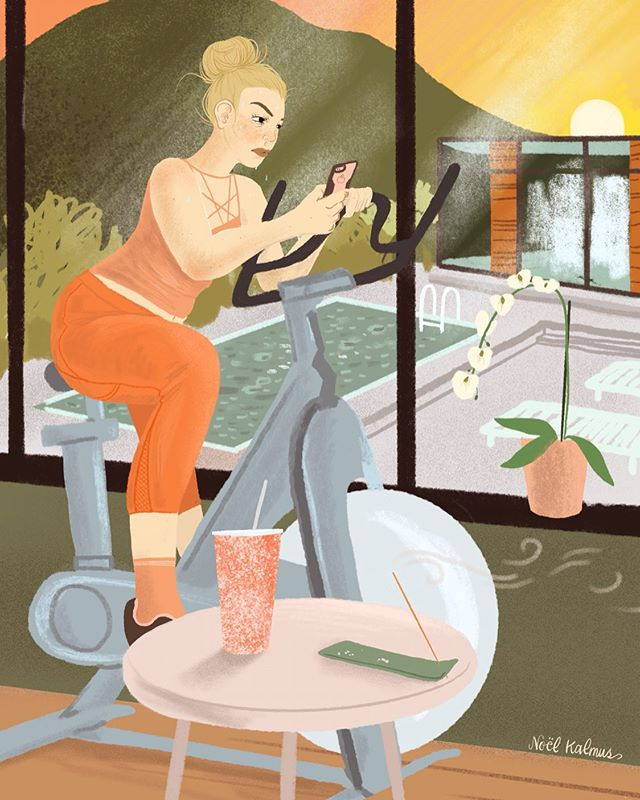 "I'm bulking up my #editorialillustration portfolio by participating in the first @makeartthatsells editorial illustration class. This piece was created in one day for an article about the morning routines of highly successful women. I'm not feeling this particular lady's choice to conduct email business during her workout, but those big windows don't lie, she's a successful boss lady for sure. Also when I showed @stephen_ebooks this he said ""Oh you drew an ad for Peloton."" which he meant jokingly but I've been chewing on it for awhile, how I'm in this phase of my life where I'm making art for money, and creatively structuring my business to be able to sustain that... I'm proud of myself. Solving a problem with an illustration is so satisfying - and a nice contrast to the blank canvas of fine art. #womenofillustration #womenwhodraw #editorialillustrator #girlgaze #stationarybike #makeartthatsells #matseditorial #illustrated #austinillustrator"