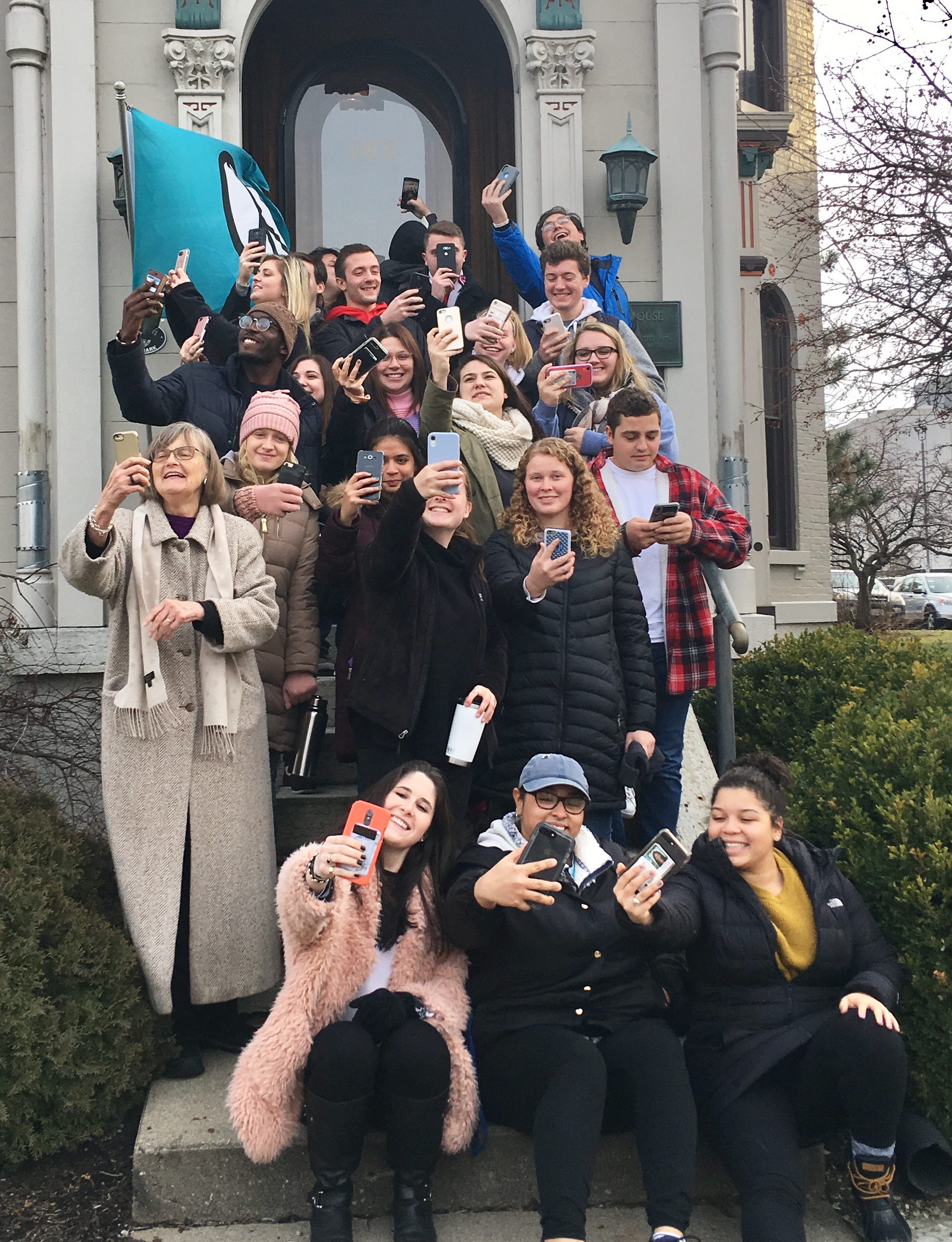"""University of Dayton students toured the museum in January and took photos for the annual """"Museum Selfie Day"""" event celebrated by museums worldwide."""