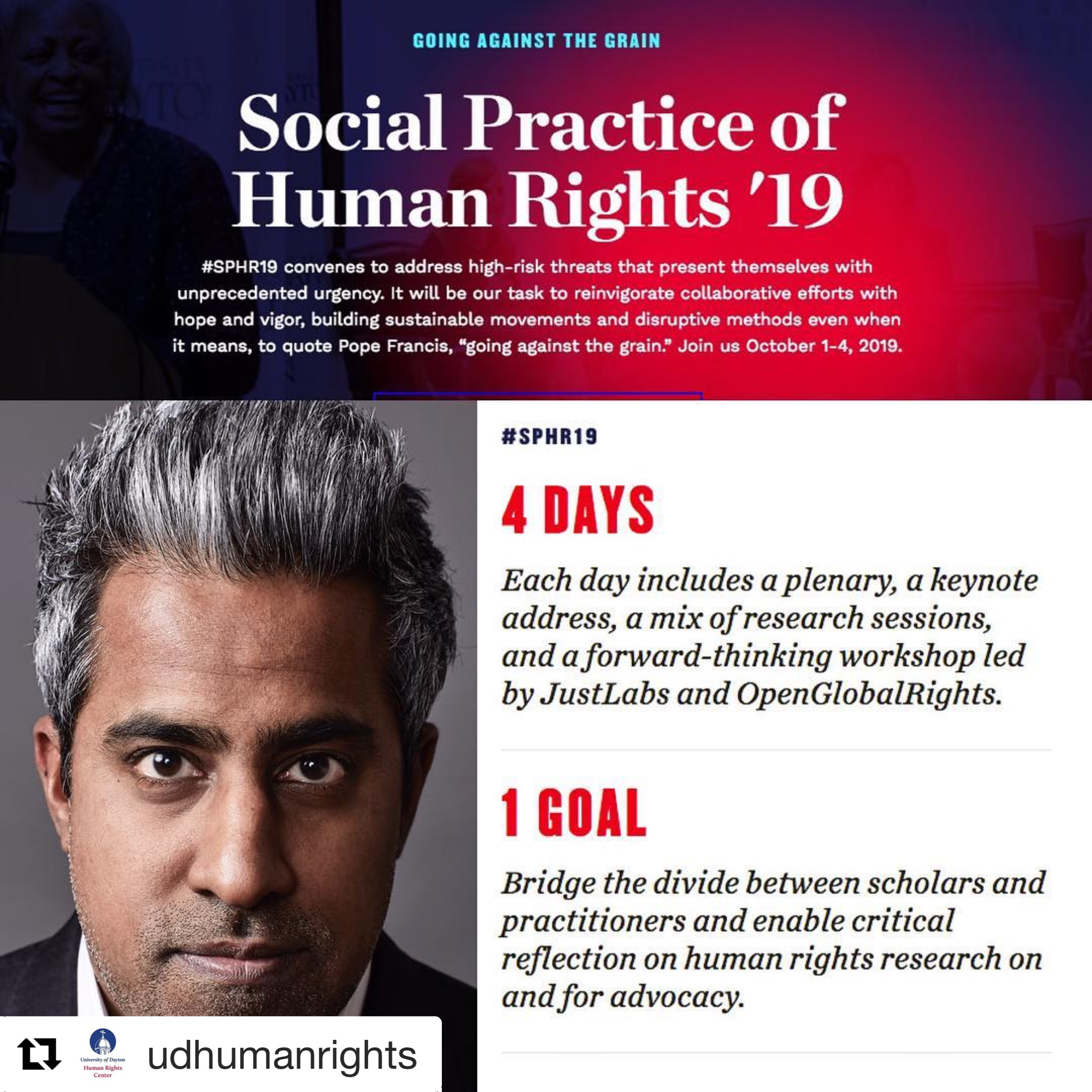 Save the date for next October 1 for the start of the University of Dayton's Human Rights 4 day conference.