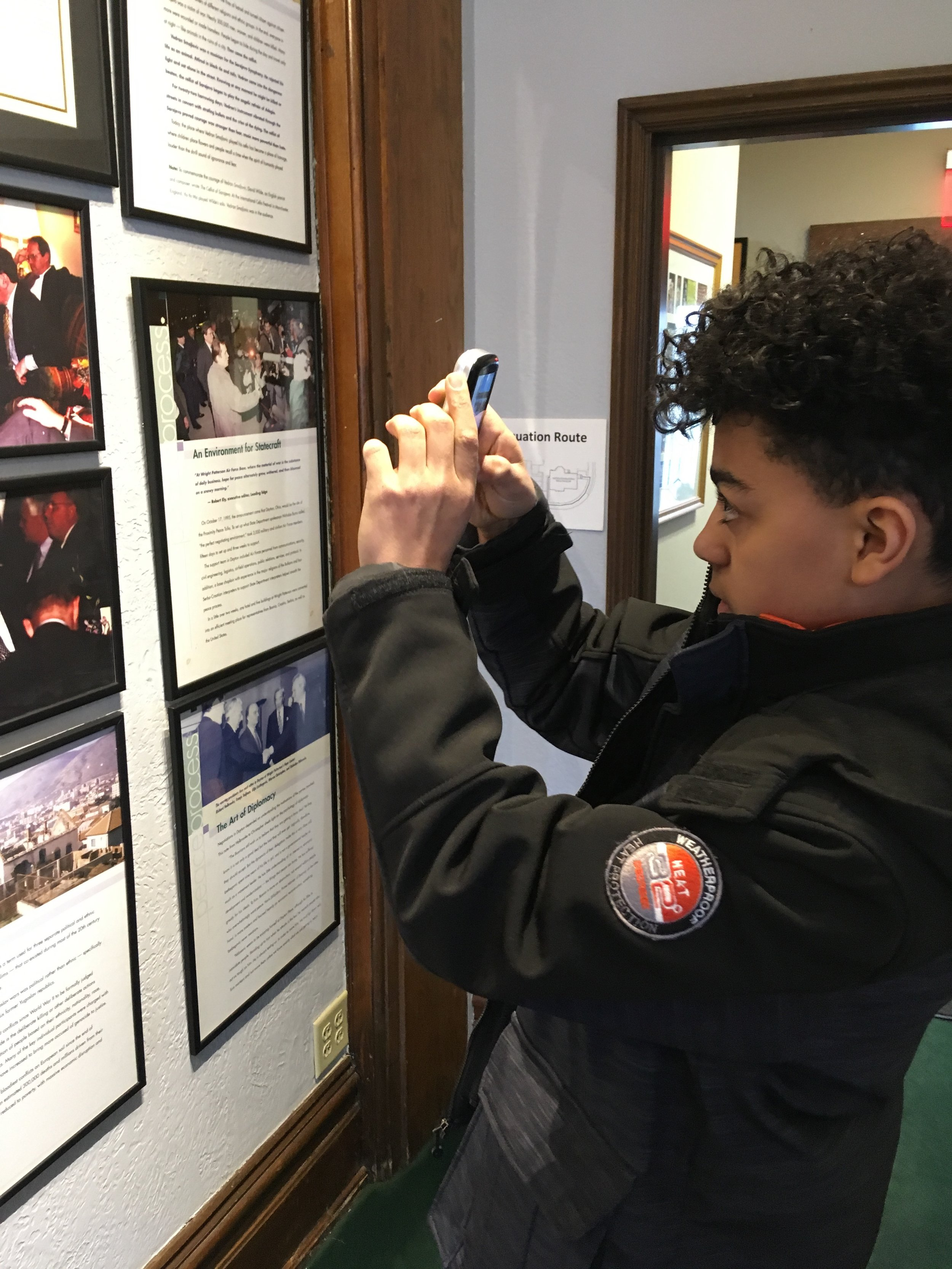 Keo, a teenager from Minnesota spent a couple hours of his spring breakout the Peace Museum doing research on the Dayton Peace Accords. Keo is preparing for his school's annual National History Day project, which for him will be a ten minute video production.