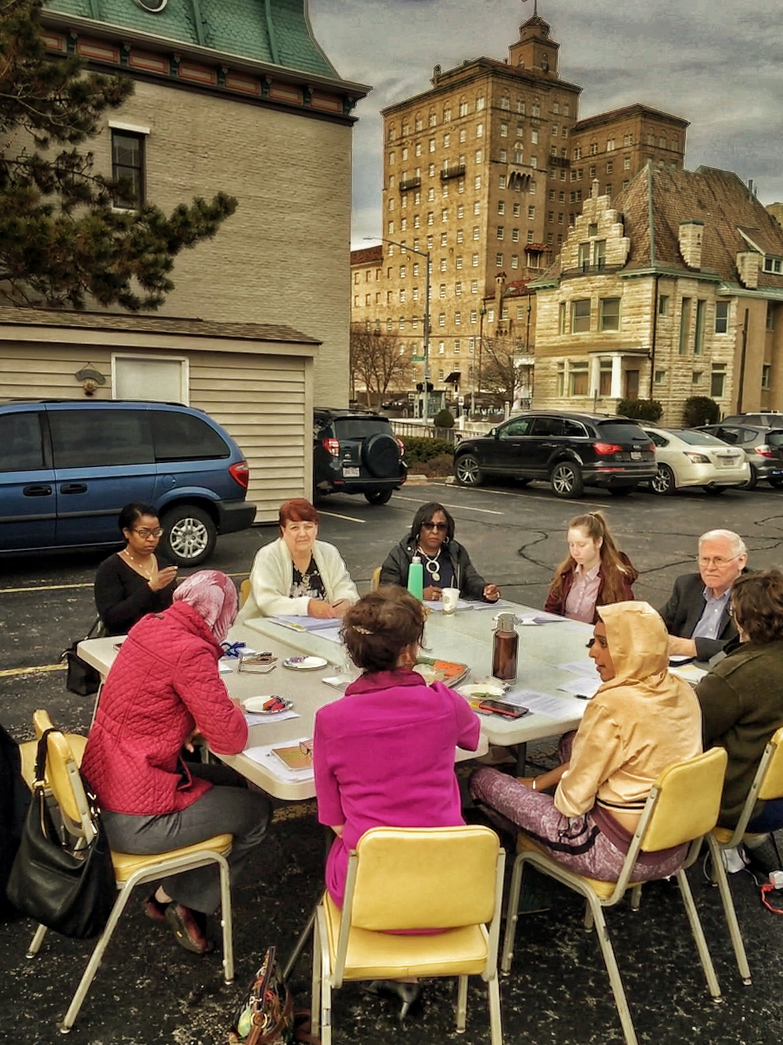 The March museum board meeting happened to fall on the warmest day of the year and members took full advantage to enjoy an early evening meeting in the museum's parking lot.