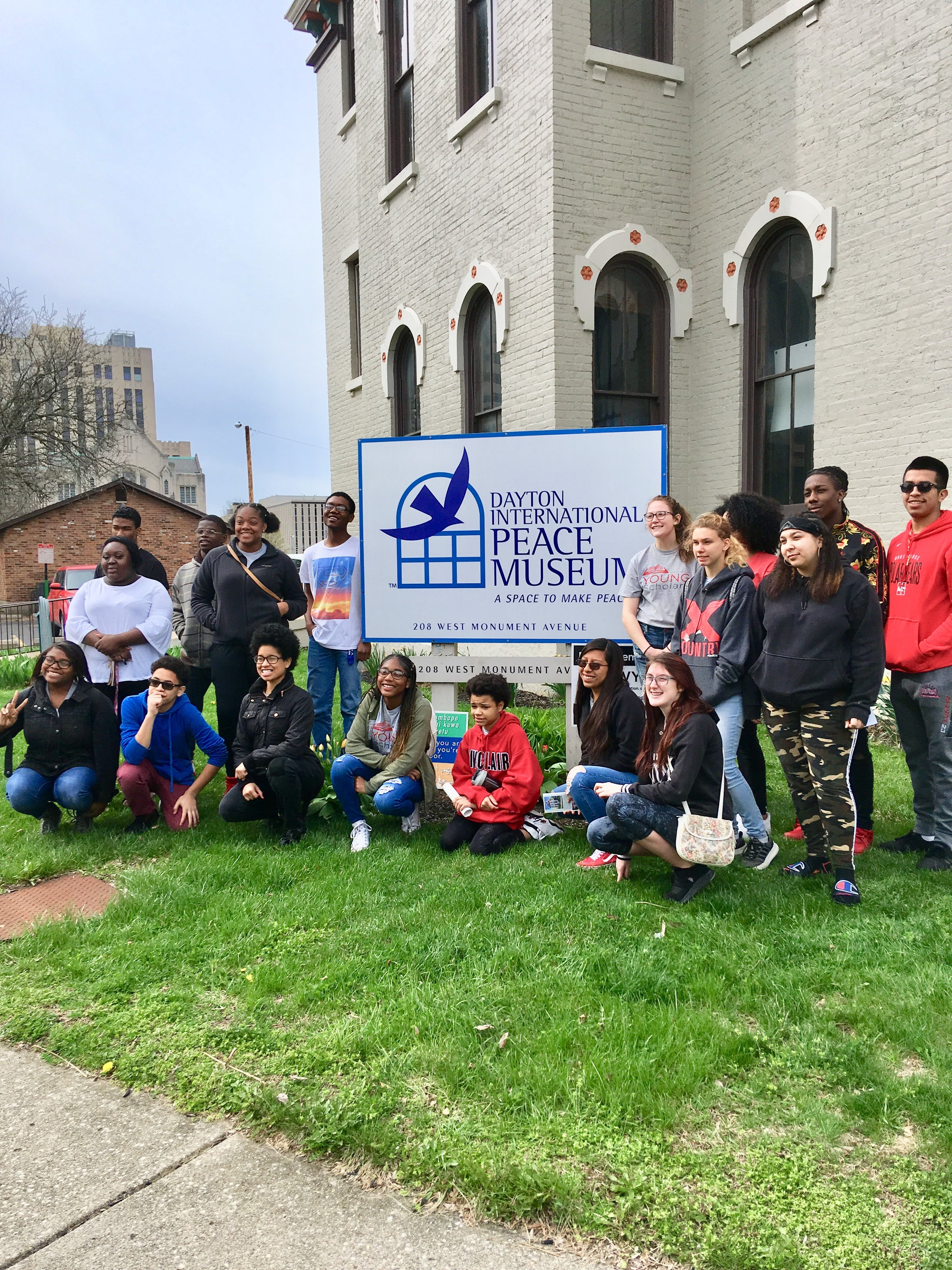 Members of the  Sinclair Community College High School Scholars  program meet up on a recent Saturday morning to learn all about  America's ONLY Peace Museum !.