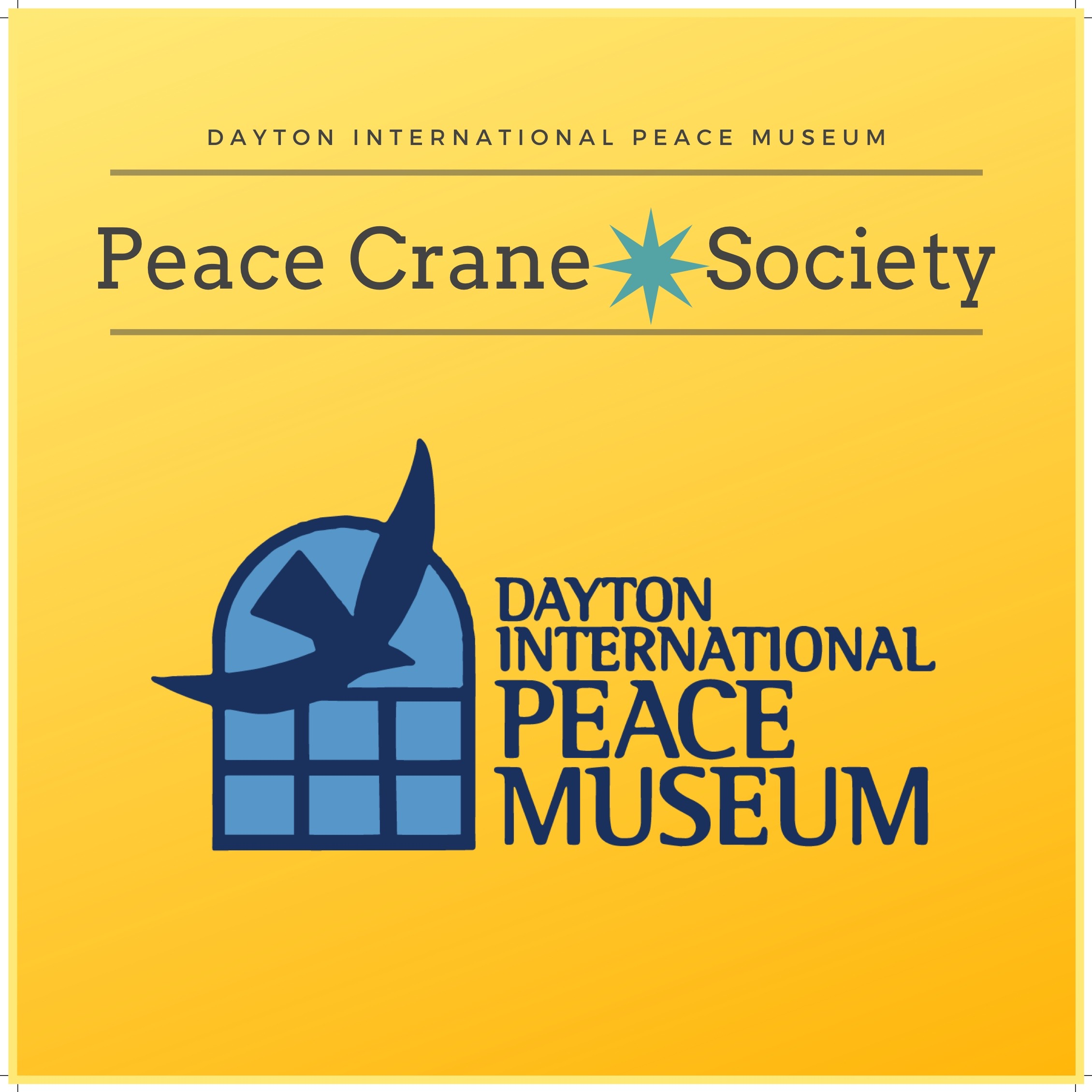 Join at the $100 per month and enjoy the many benefits of being a member of the  Peace Crane Society . Members receive all the perks of the lower memberships plus a large canvas logo tote bag, priority seating at the Nobel Prize Luncheon and exclusive Society member only events.