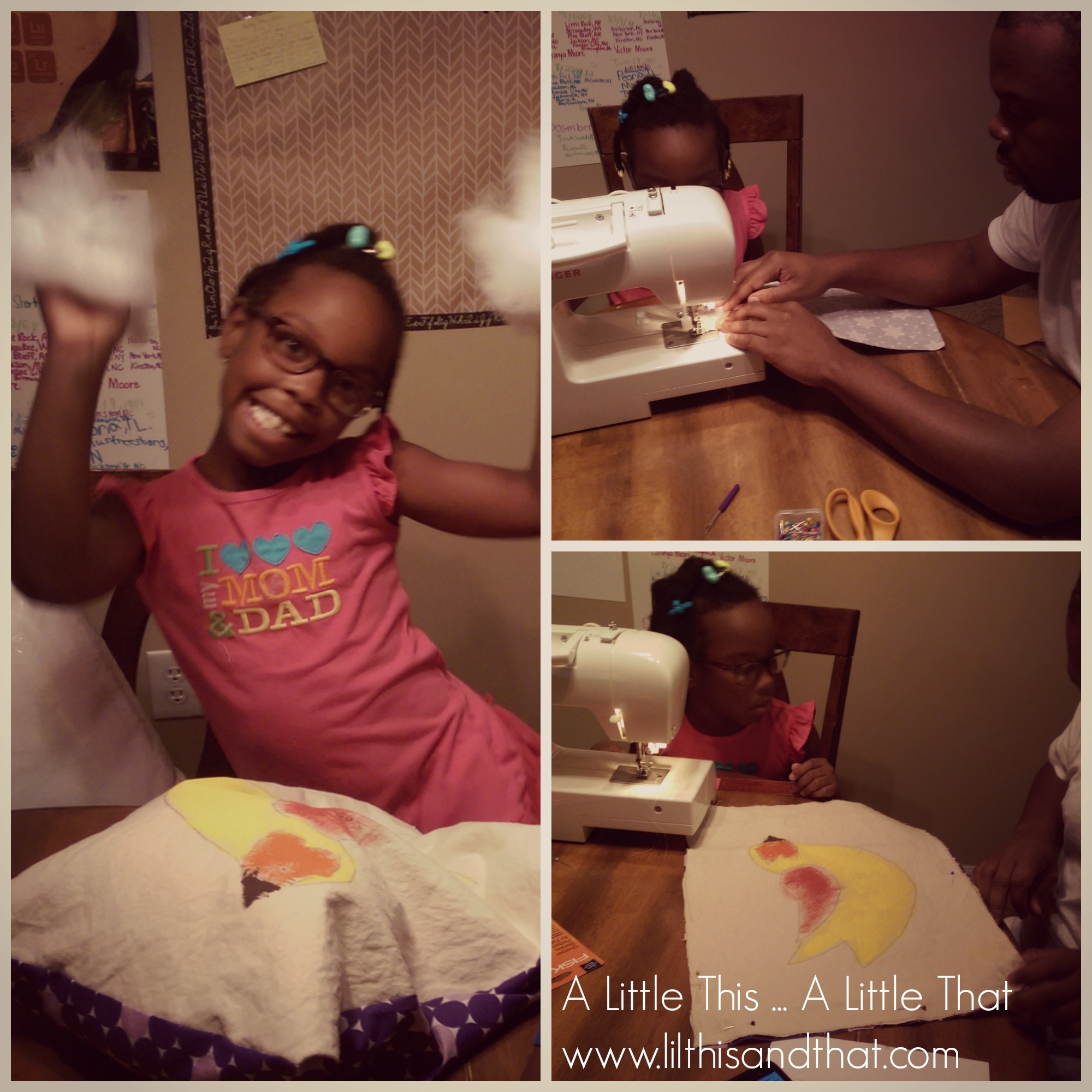 She is having lots of fun sewing with her dad.