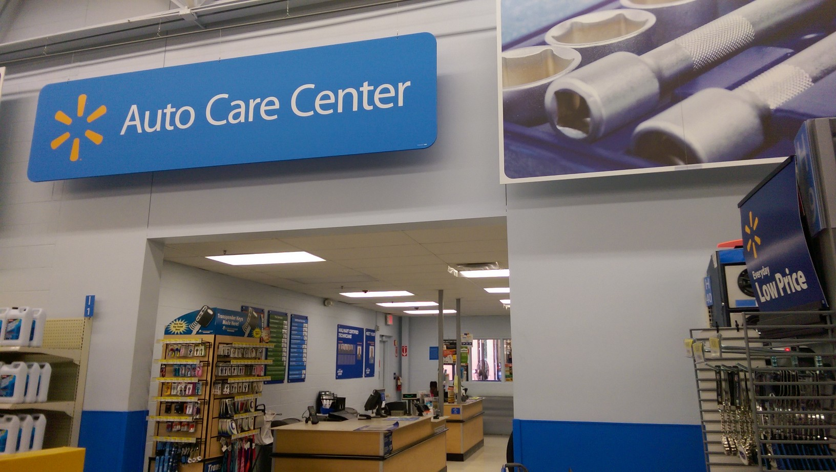 The Auto Care Center is located in the back of most Walmart stores.