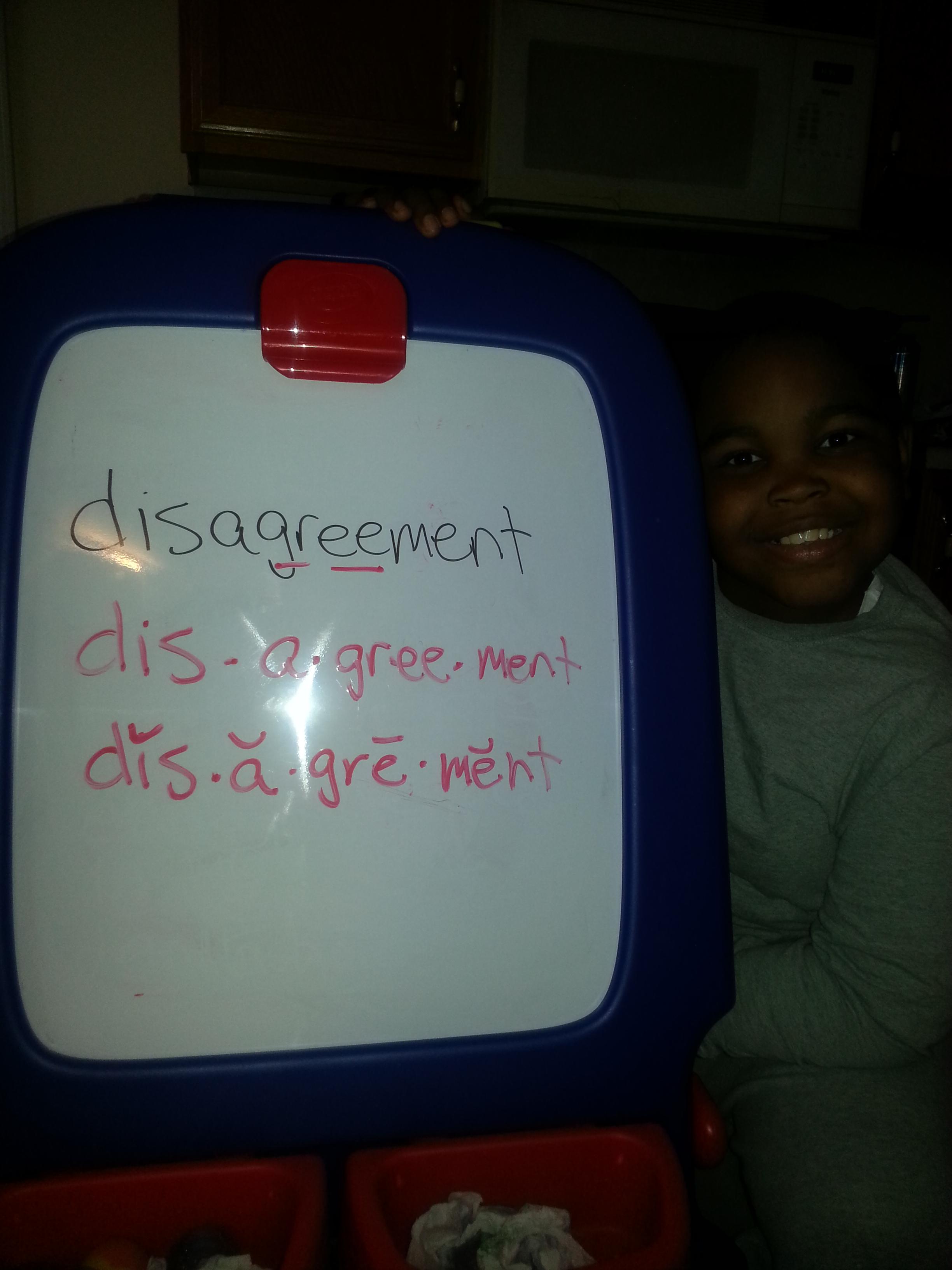 Rhonda's homeschooled son studying spelling
