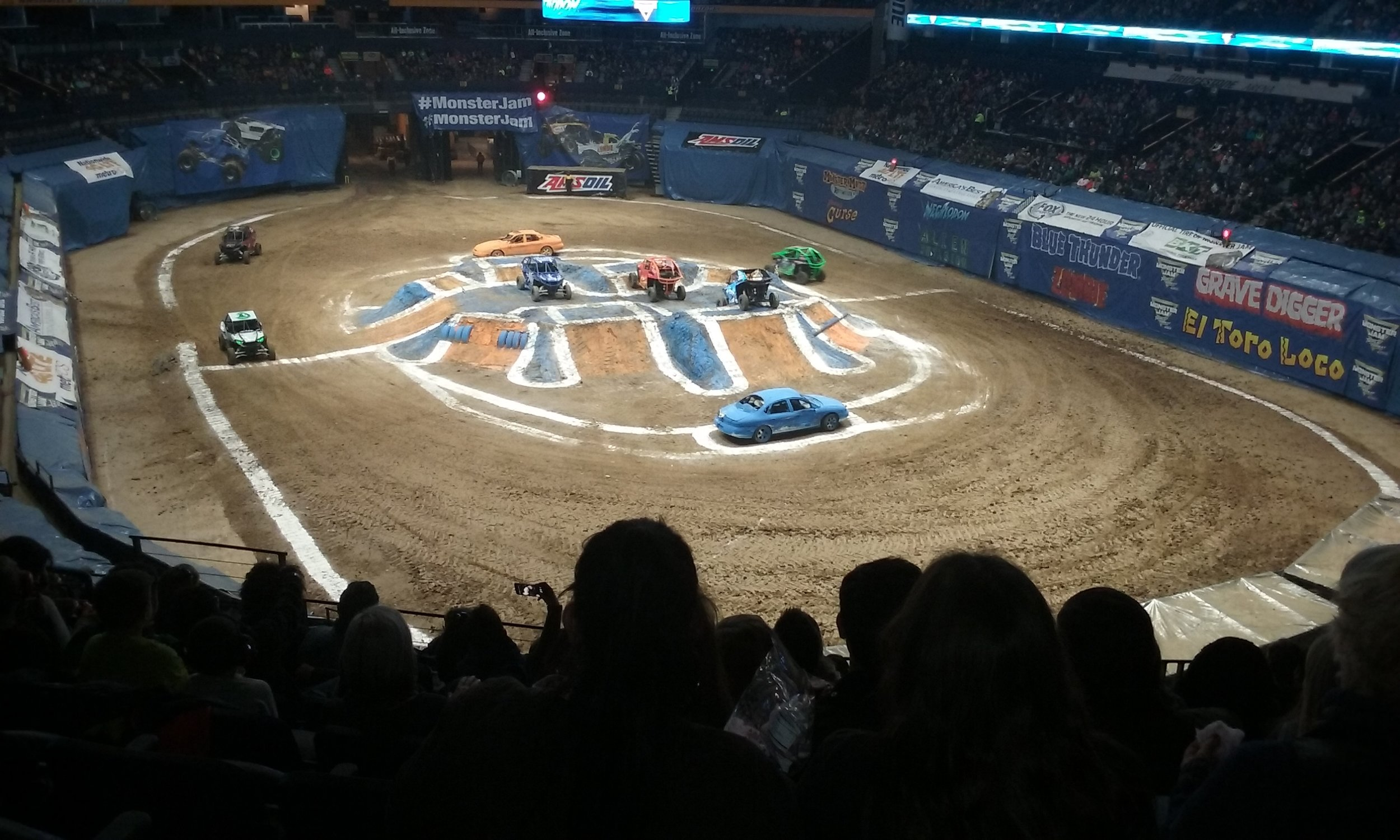They not only race monster trucks, but they also race speedsters.