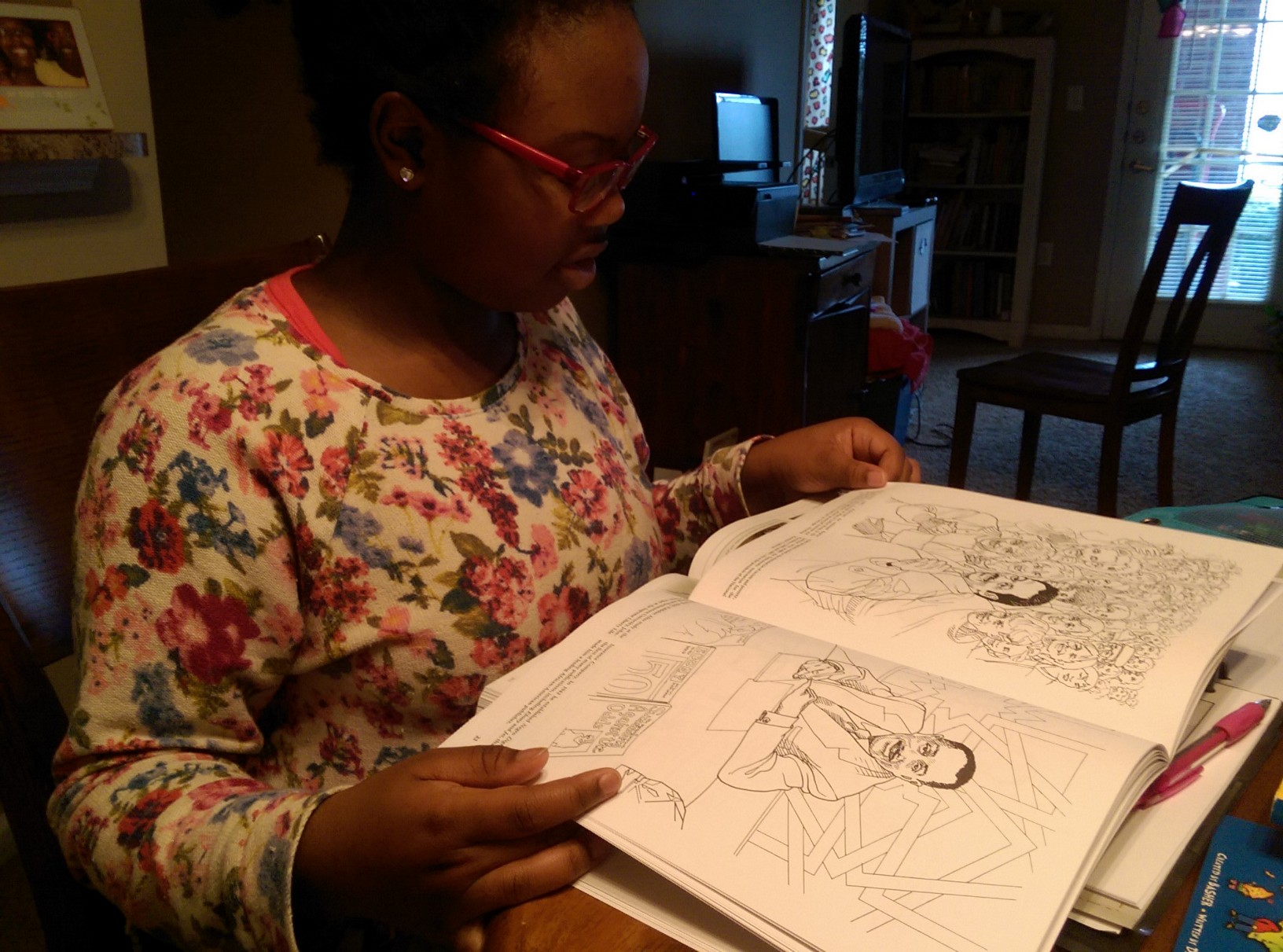 daughter reading Civil Rights Movement coloring book
