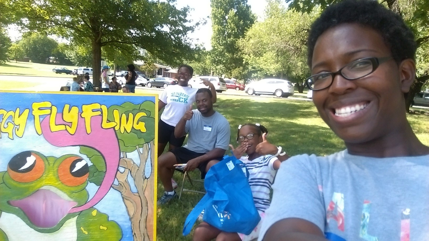 Helping at a local back to school event with other people in our community
