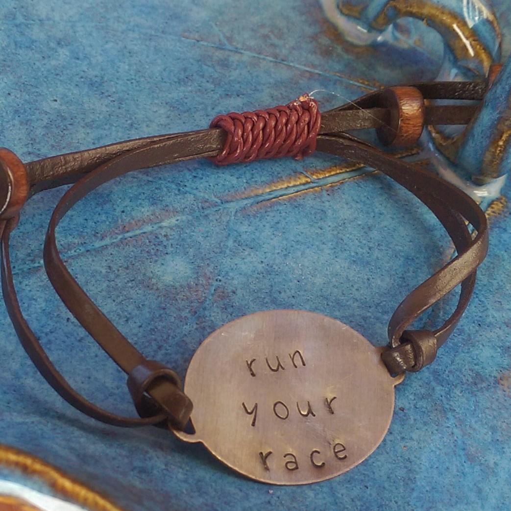 Remember to RUN YOUR RACE. Bracelet available at authenticallymade.com.
