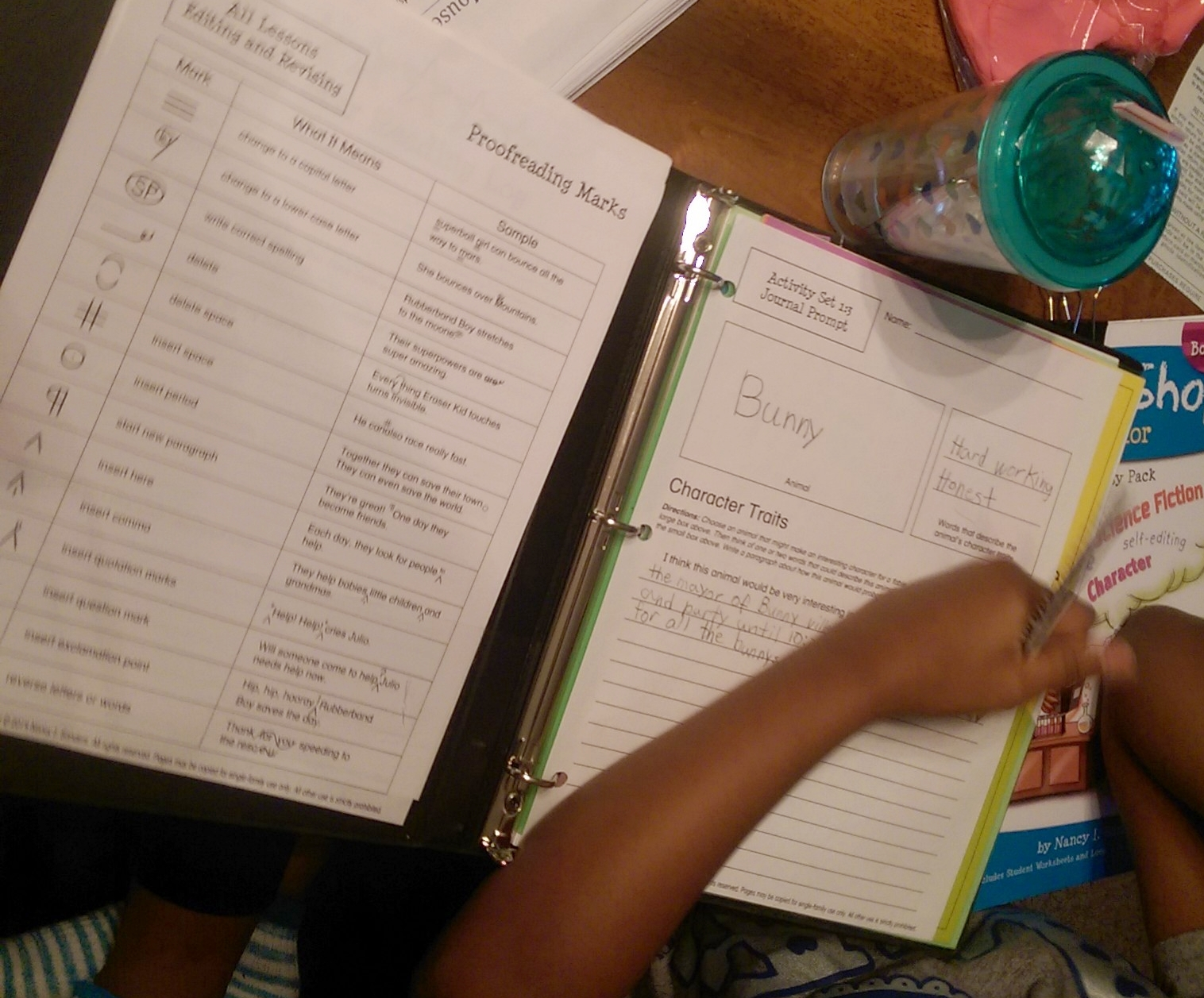 My fourth grade daughter working on her fable with WriteShop Book E