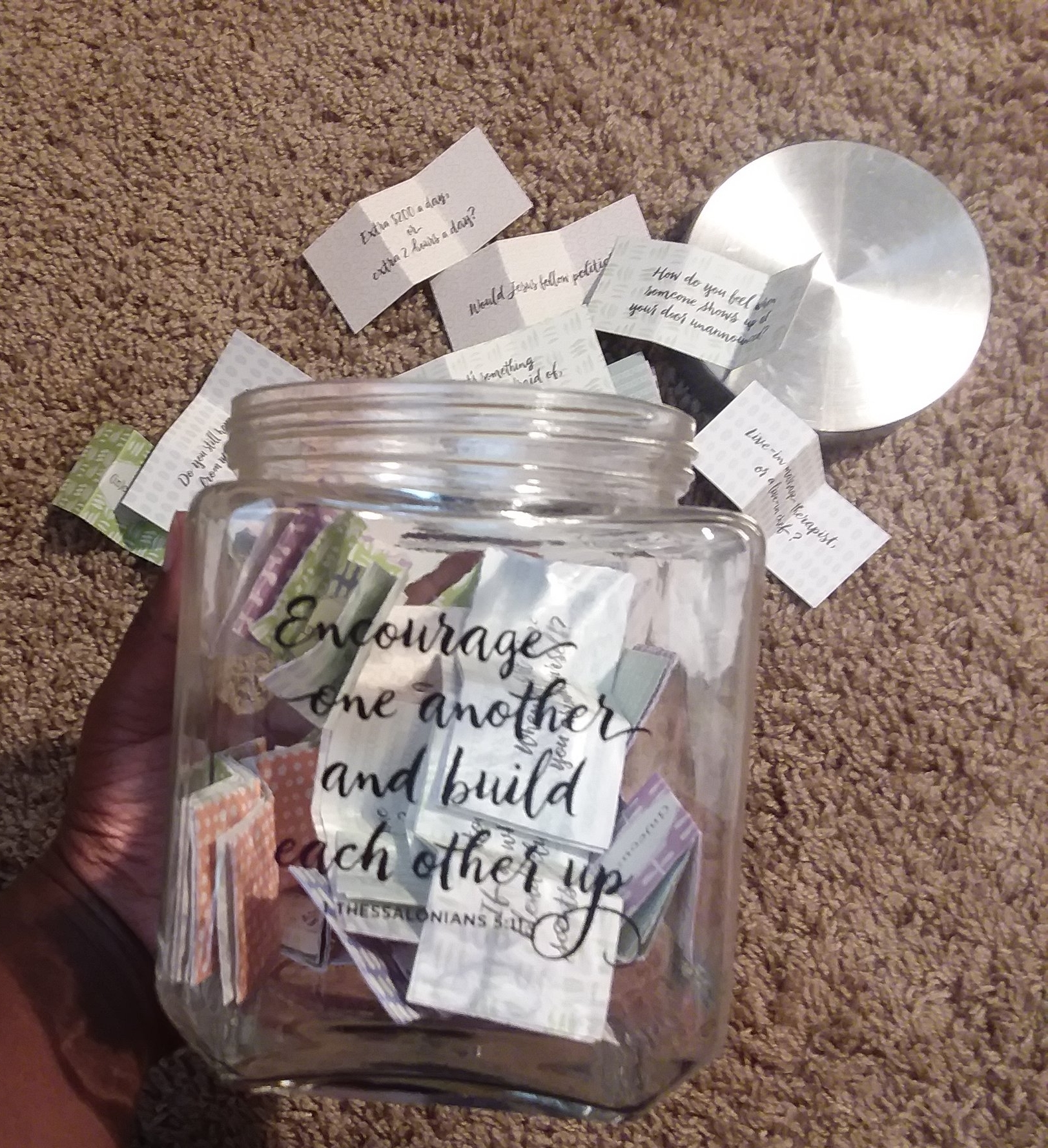 Not sure what to talk about with your friends?  Consider this Conversation Starters Jar from (in)courage and DaySpring.