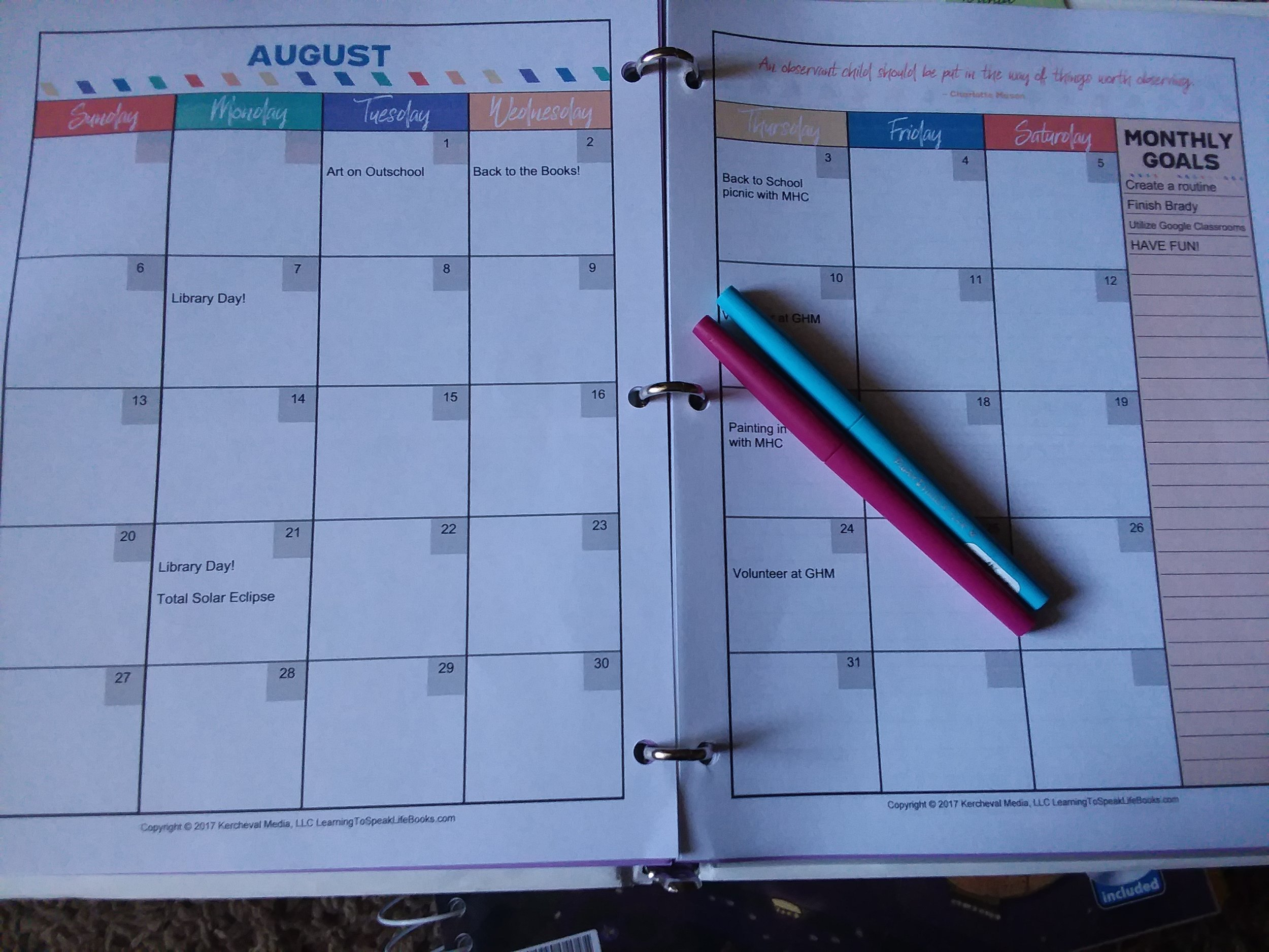 montly laout in the organized homeschool planner