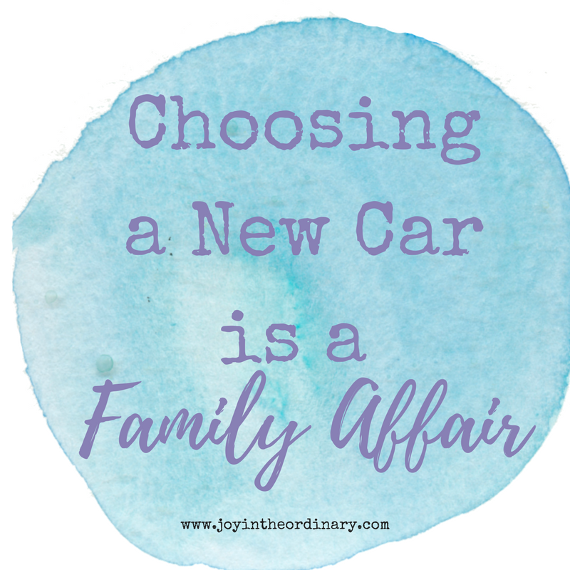 choosing a new car with family