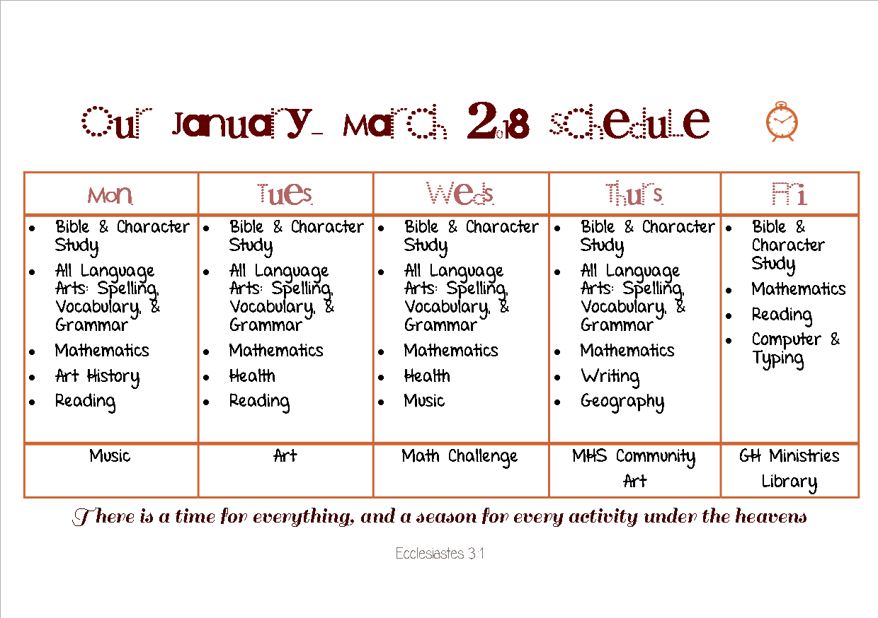 I made this schedule in Publisher with fonts I downloaded. I really like fonts!