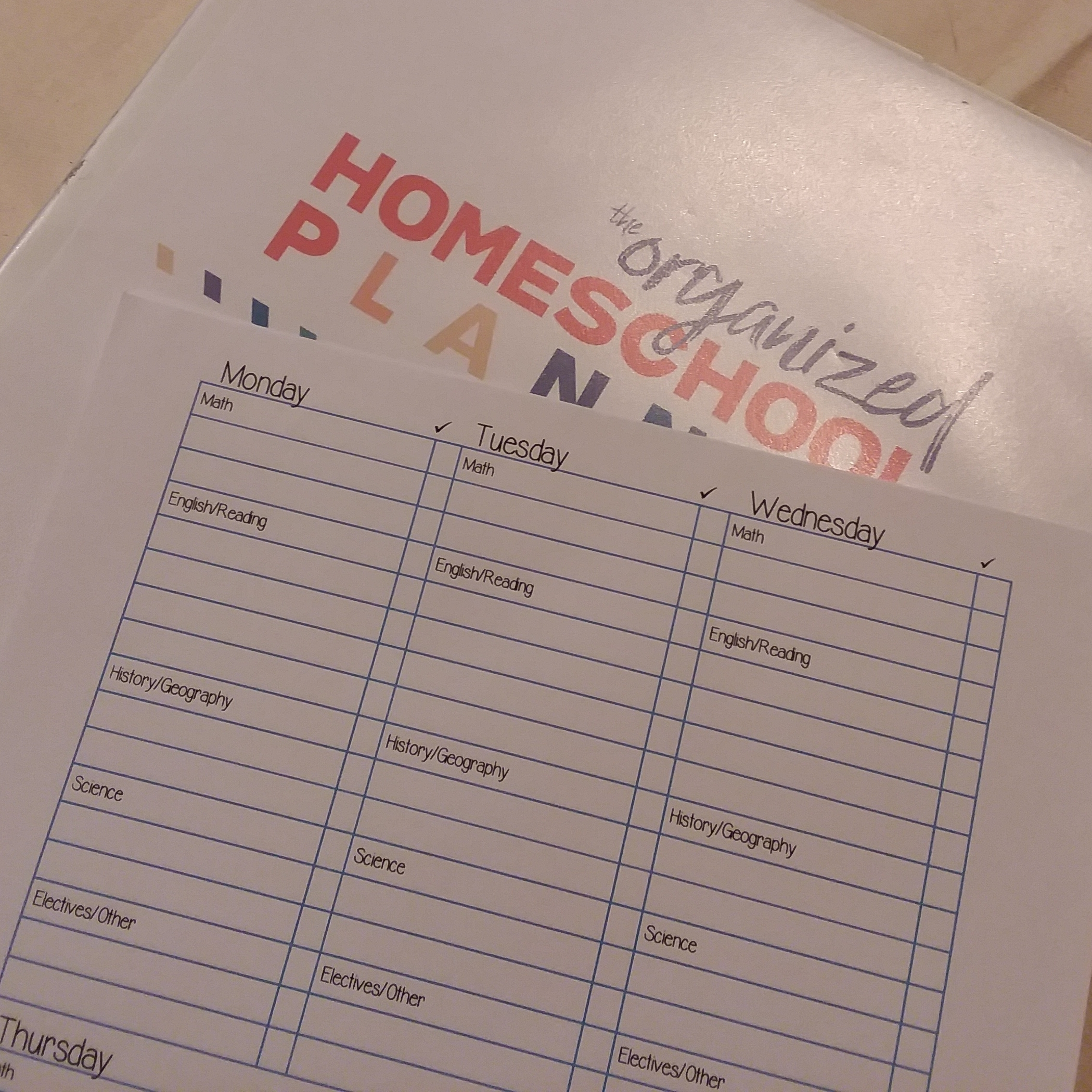 These are downloadable planners for homeschool parents and students.