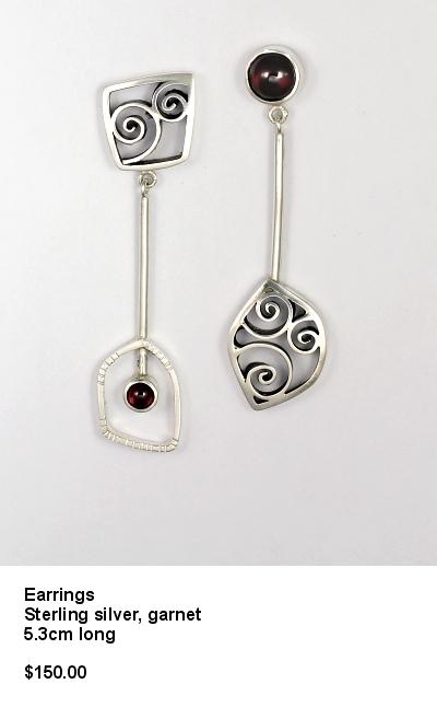 2 part earrings spirals and garnet.JPG