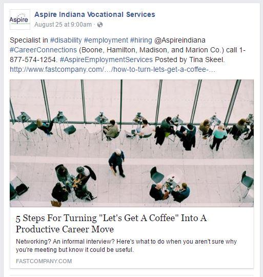 Aspire Vocational Services Facebook Page