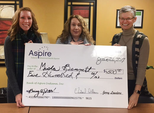 left to right: Angi Johnson and Misha Bennett from our Lebanon office with Barbara Scott, Executive Vice President and COO of Aspire Indiana.