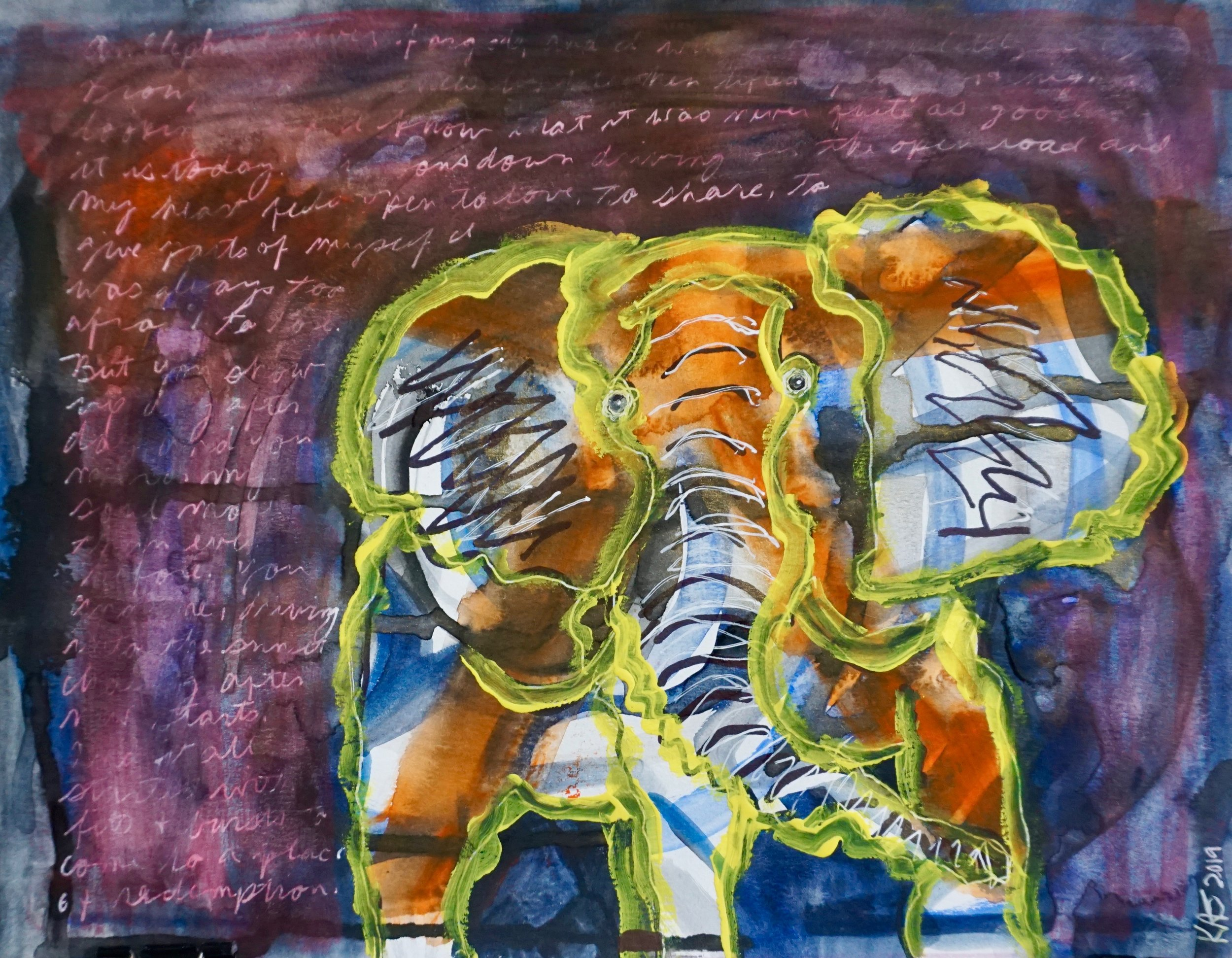 I drew on an elephant, and then painted around the outside outline with yellow gouache.  Next I painted the background navy, then free wrote on the background with white Sakura Gelly Roll pen.  I added a sheer wash of acrylic ink over the top of the background.