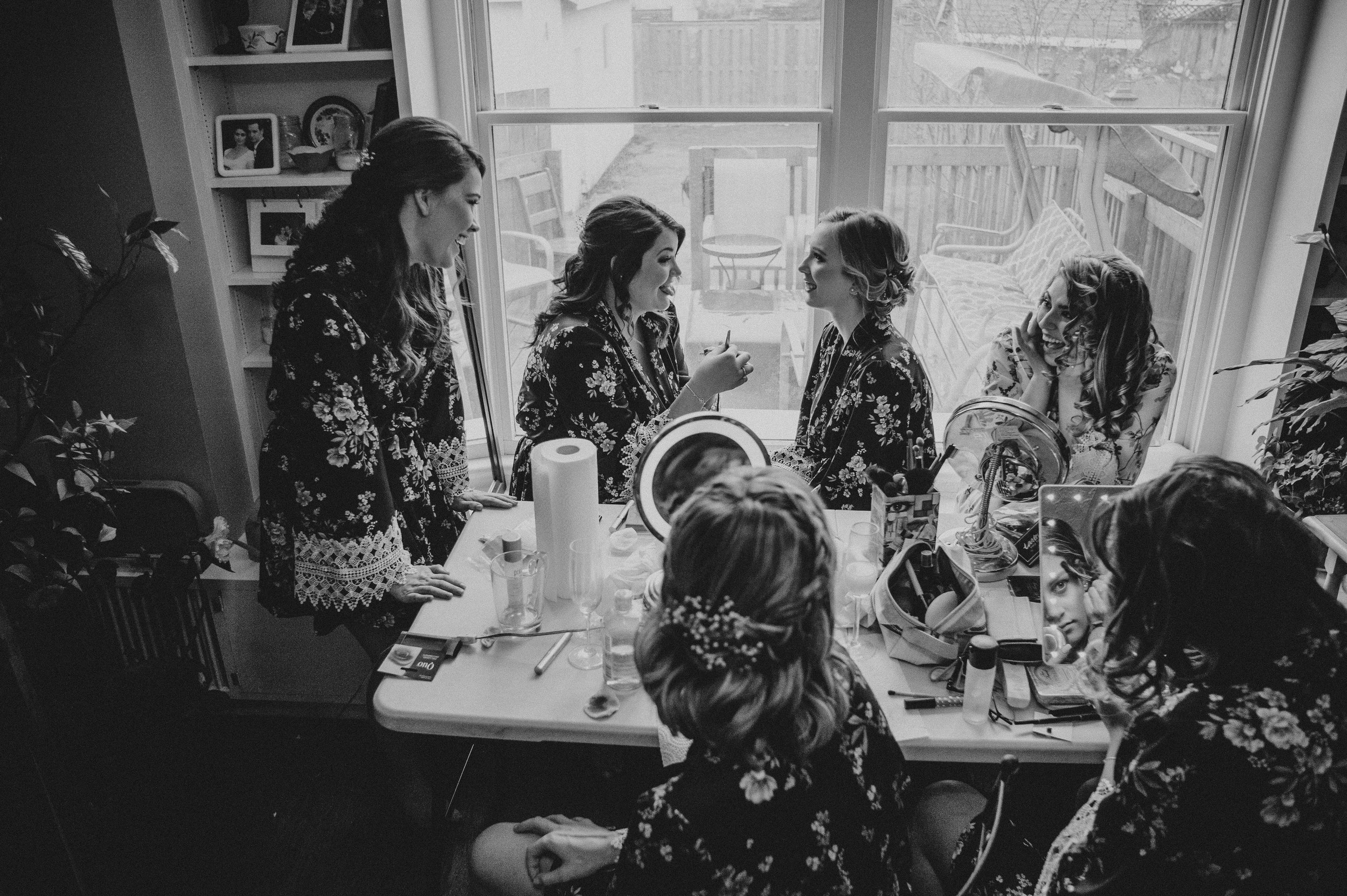 Bridal tribe while getting ready