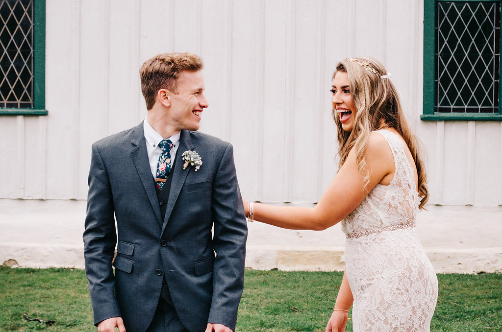 The bride and groom's emotional first look