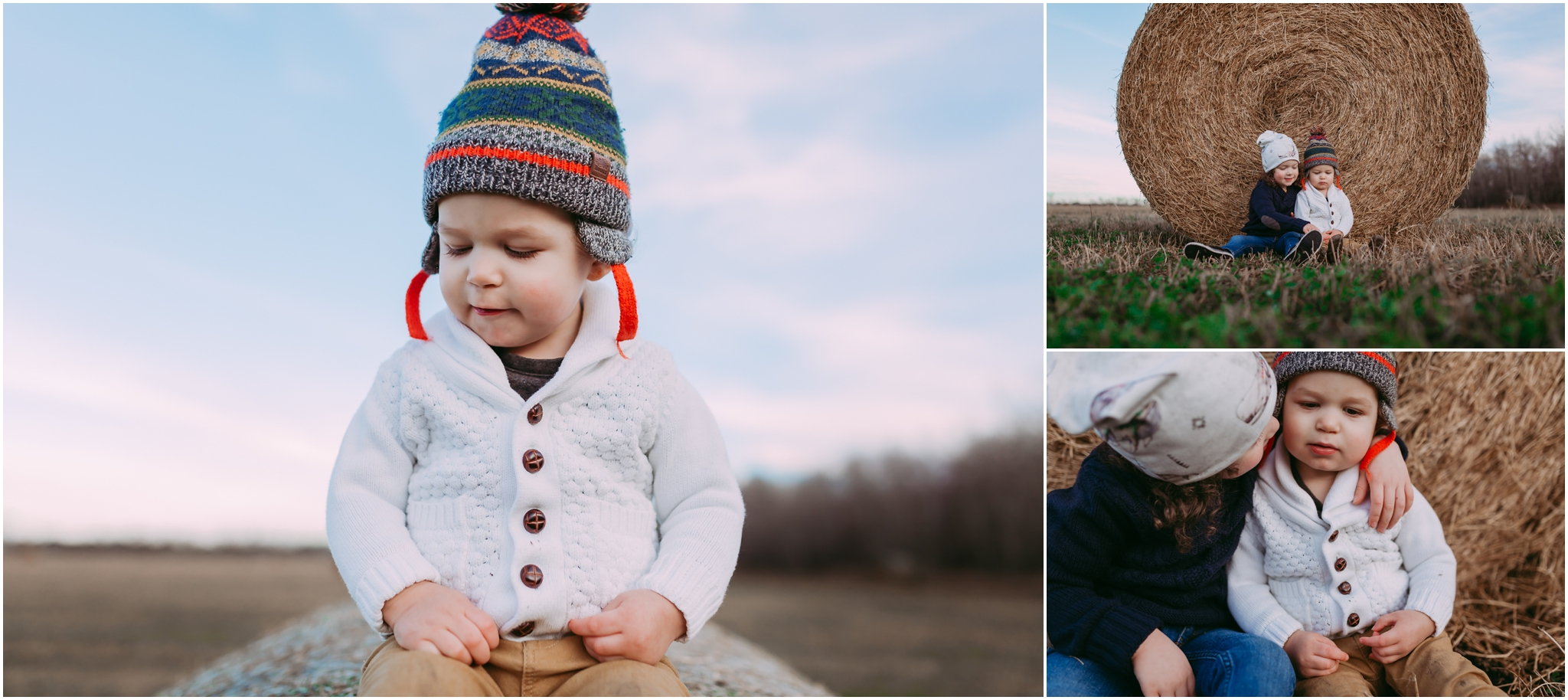 Edmonton Children Photographer - Best of 2016 - Brothers - Family Session - Hay Bales