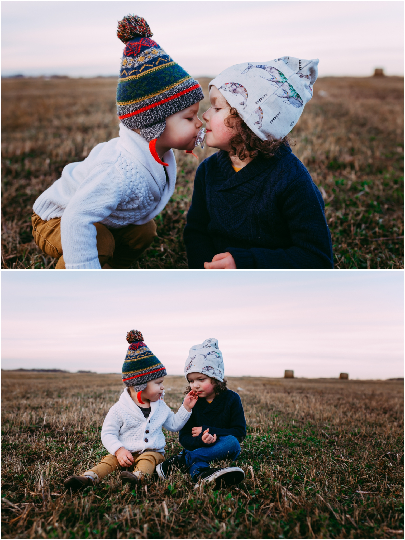 Edmonton Family Photographer - YEG - Best of 2016 - Brothers - Autumn - Toques - Olive Me Handmade - Hay bales - Outdoor adventure - brotherly love