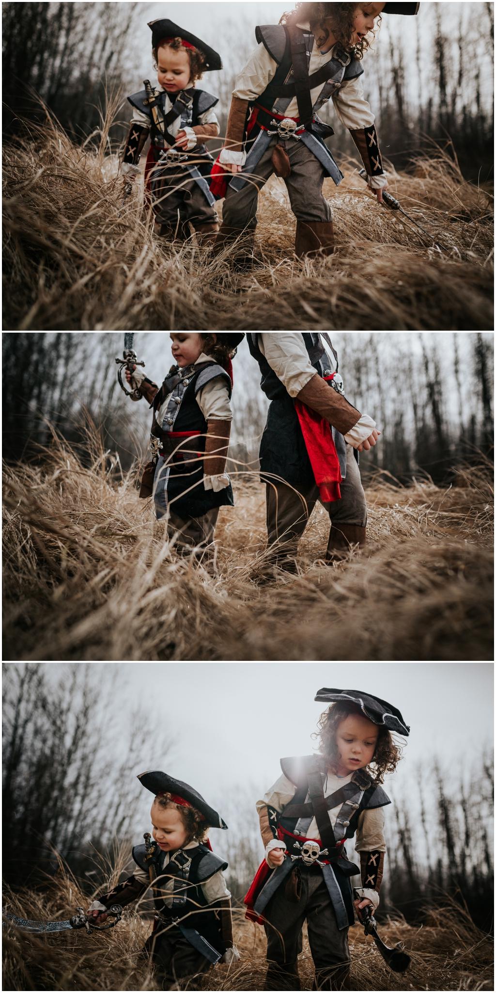 Alberta Child Photographer - Pirate Costume Halloween Lifestyle Documentary Photography YEG