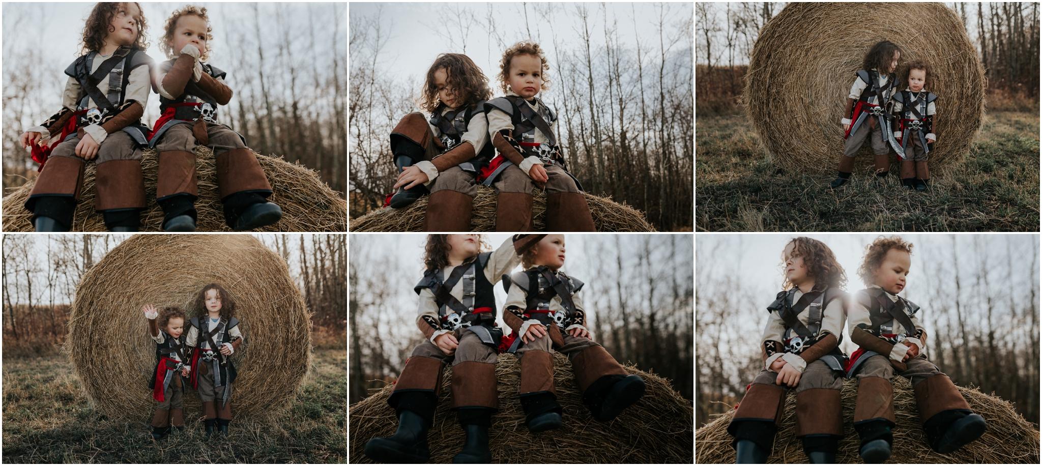 Edmonton Family Photographer - Hay Bales - Farmland Alberta Prairies