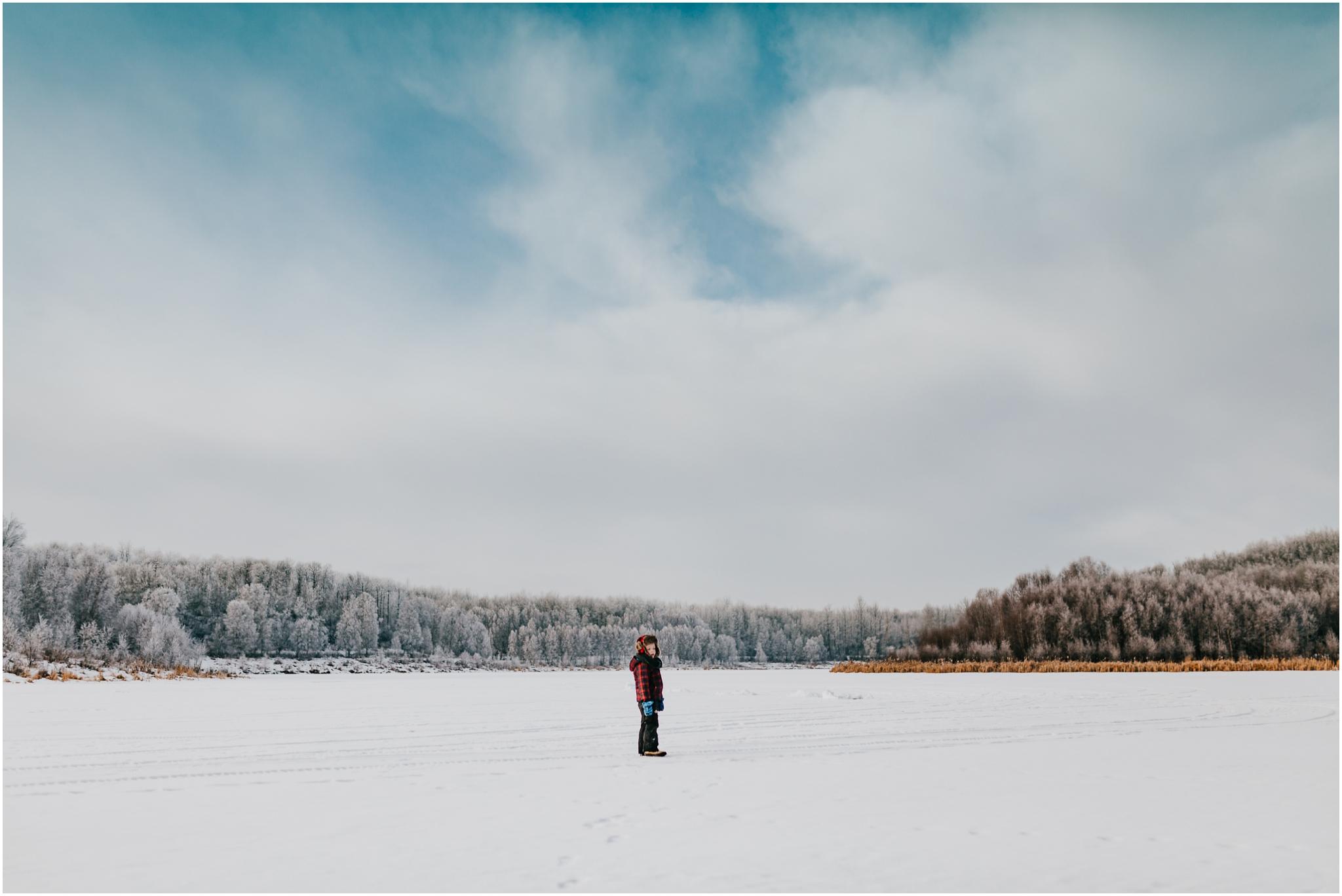 Edmonton Photographer - Adventure Photography - Winter Scene Alberta Lake