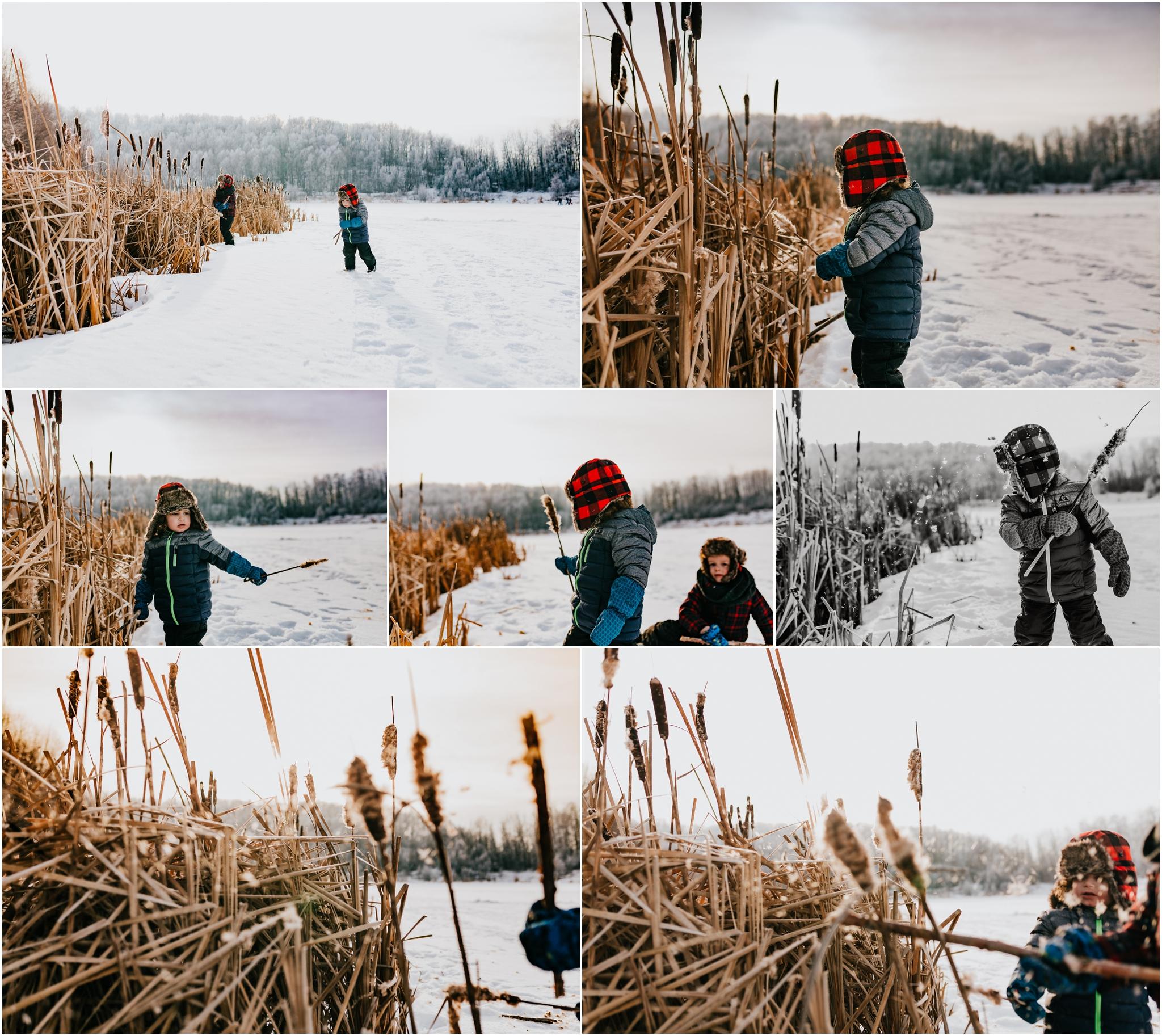 Edmonton Lifestyle Photographer - Edmonton Family Photographer - Kids on frozen lake - Cattails.jpg