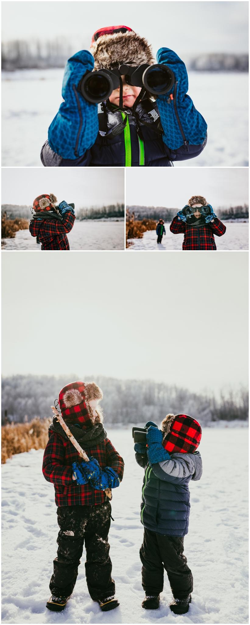 Edmonton Photographer - Family Photographer Lifestyle Documentary Edmonton - Alberta Winter Lakes - Kids binoculars.jpg