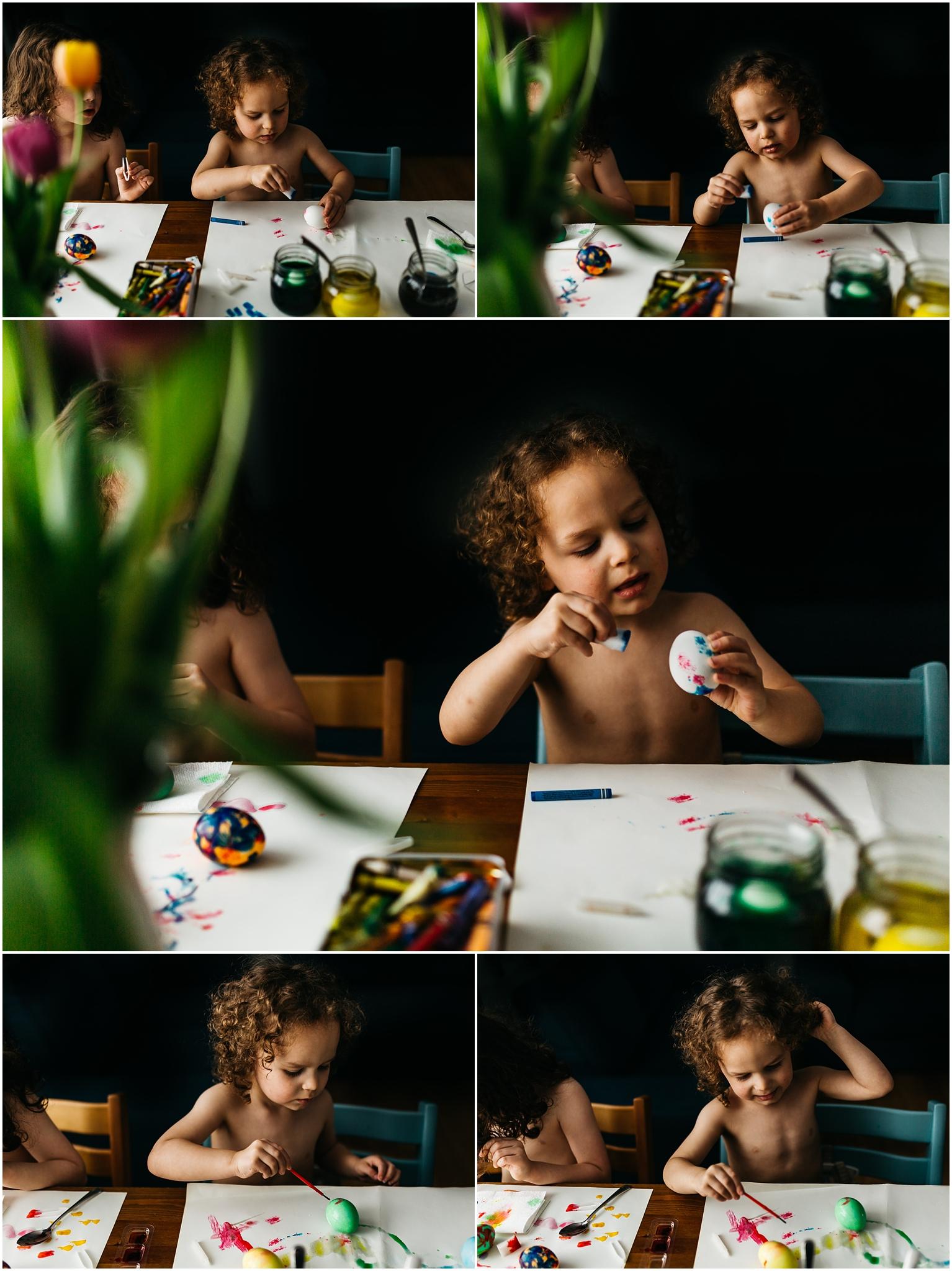 Easter Egg Painting - Edmonton Photographer - Edmonton Family Photographer -  Easter Eggs - Easter 2018 - Crayons on Easter Eggs - Edmonton Documentary Photographer - Family Photography - Documentary Photography - Tulips - Stokke Tripp Trapp - Tulips - Spring Flowers - Paas Easter Kits