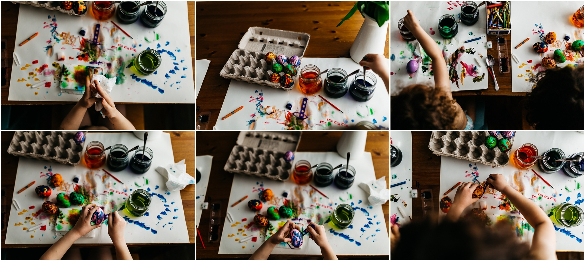 Easter Egg Painting - Edmonton Photographer - Edmonton Family Photographer -  Easter Eggs - Easter 2018 - Crayons on Easter Eggs - Edmonton Documentary Photographer - Family Photography - Documentary Photography - Spring - Kids Crafts - Rainbow - Easter egg making