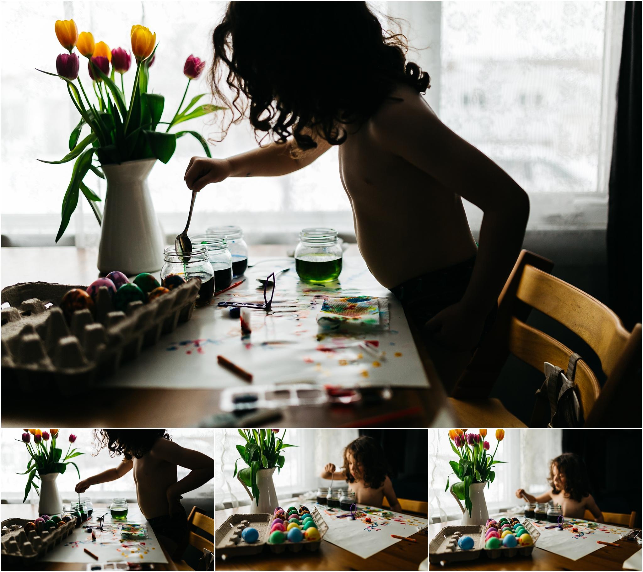 Easter Egg Painting - Edmonton Photographer - Edmonton Family Photographer -  Easter Eggs - Easter 2018 - Crayons on Easter Eggs - Edmonton Documentary Photographer - Family Photography - Documentary Photography - Tulips - Dramatic Light - Tripp Trapp - Stokke - Ikea Vase - Easter Egg making - paas easter kits