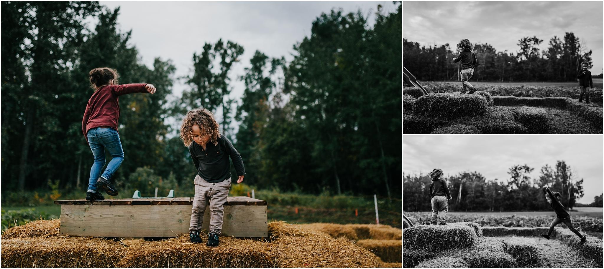 Treelines Photography - Edmonton Photographer - Edmonton Family Photographer - Hay Bale Playground - Edmonton Fall Activities