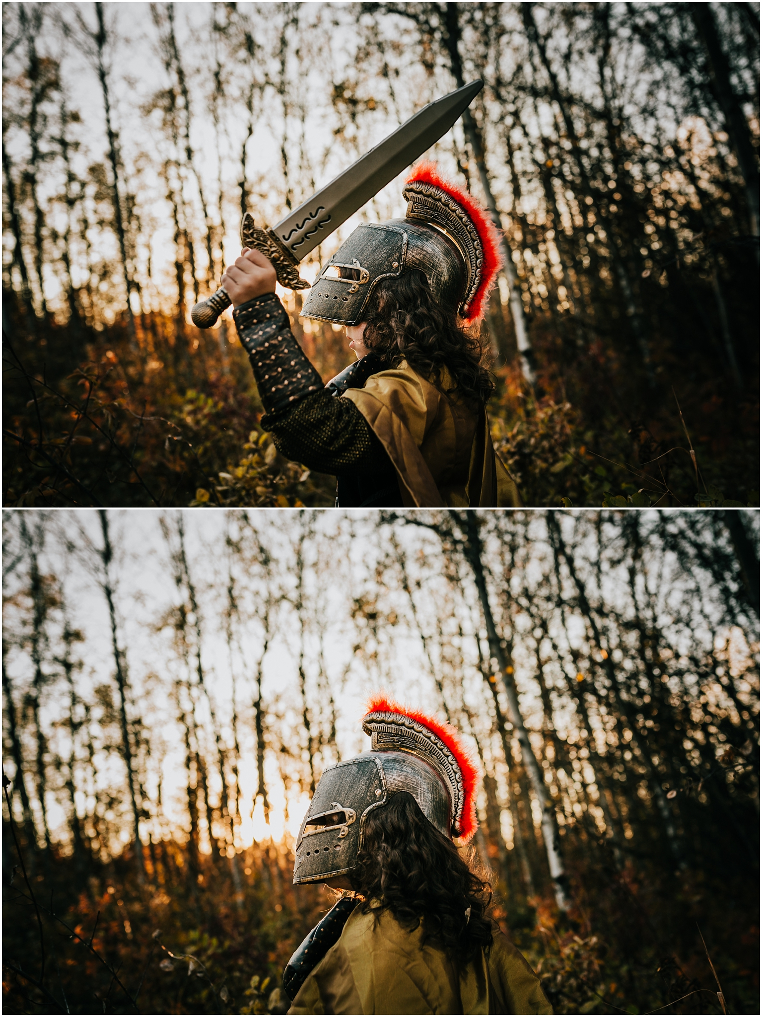 Edmonton Family Photographer - Treelines Photography - Halloween roman knight costume - knight helmet - Edmonton lifestyle photographer