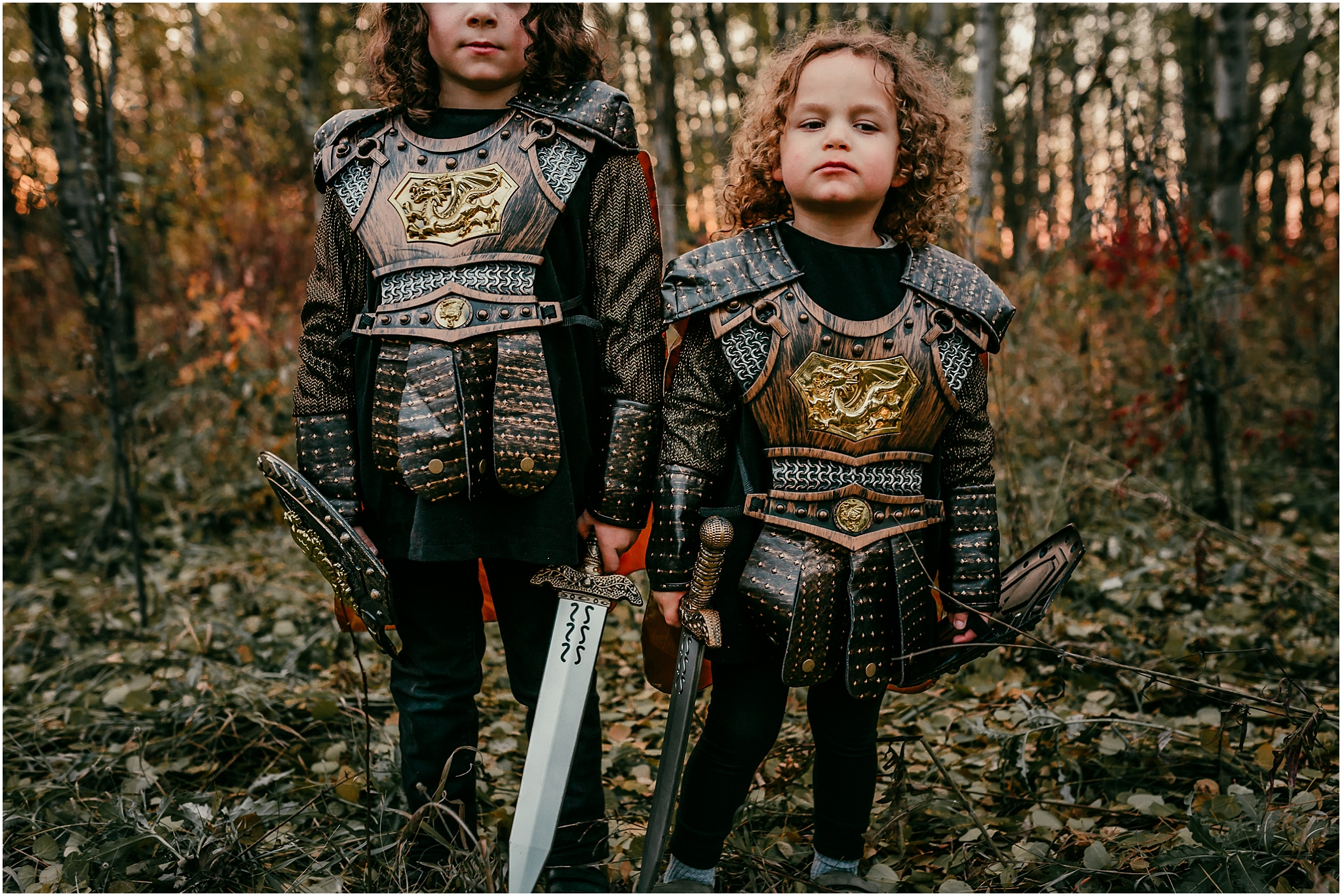 Treelines photography - Edmonton Family Photographer - Halloween knight costumes