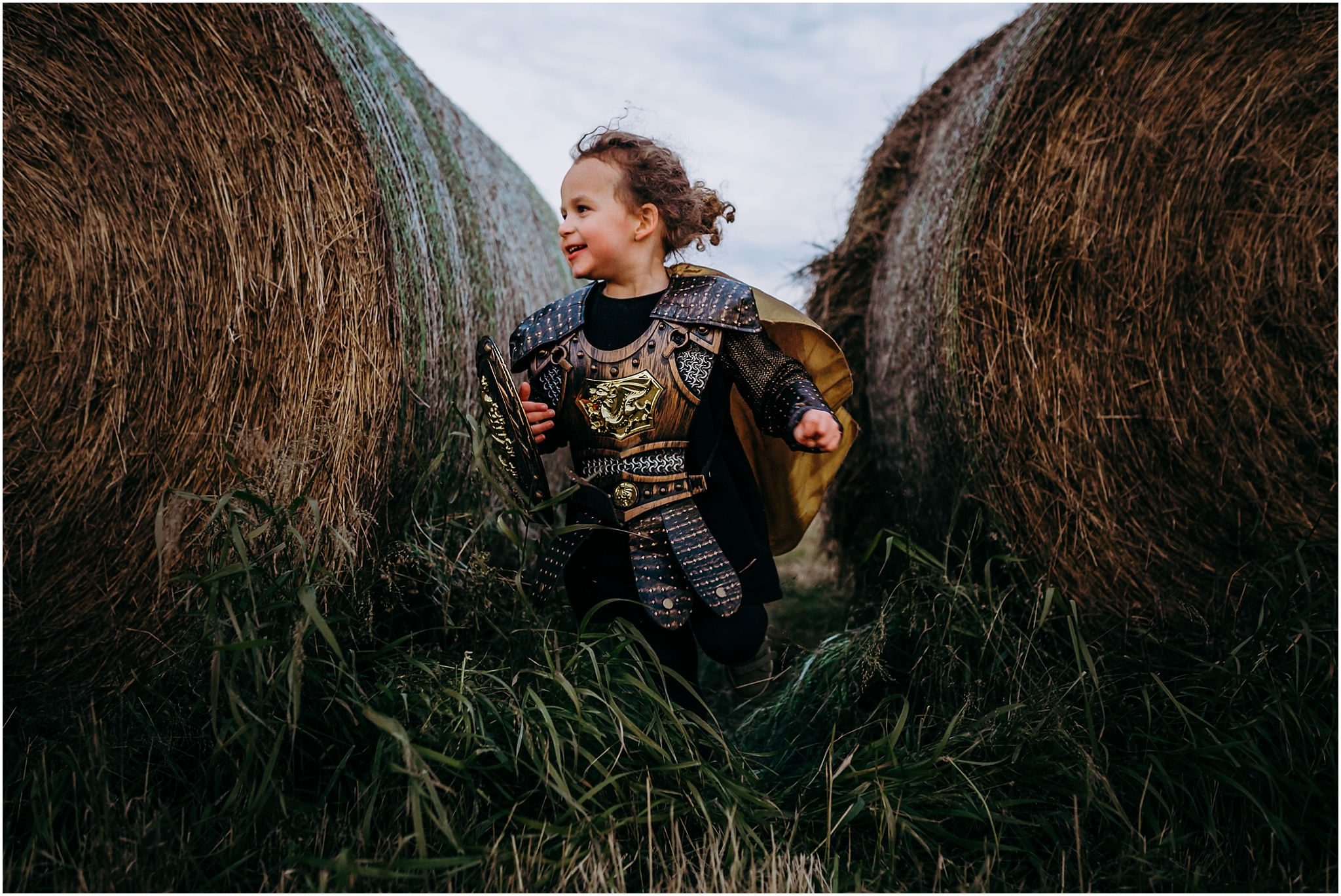 Treelines Photography - Edmonton Family Photographer - Edmonton Lifestyle Photographer - Hay Bale photo session - Halloween Knight costumes - Alberta