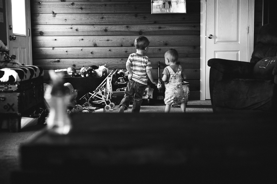 siblings playing at home