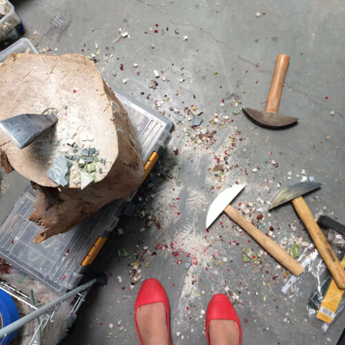 Studio floor with hammer and hardie