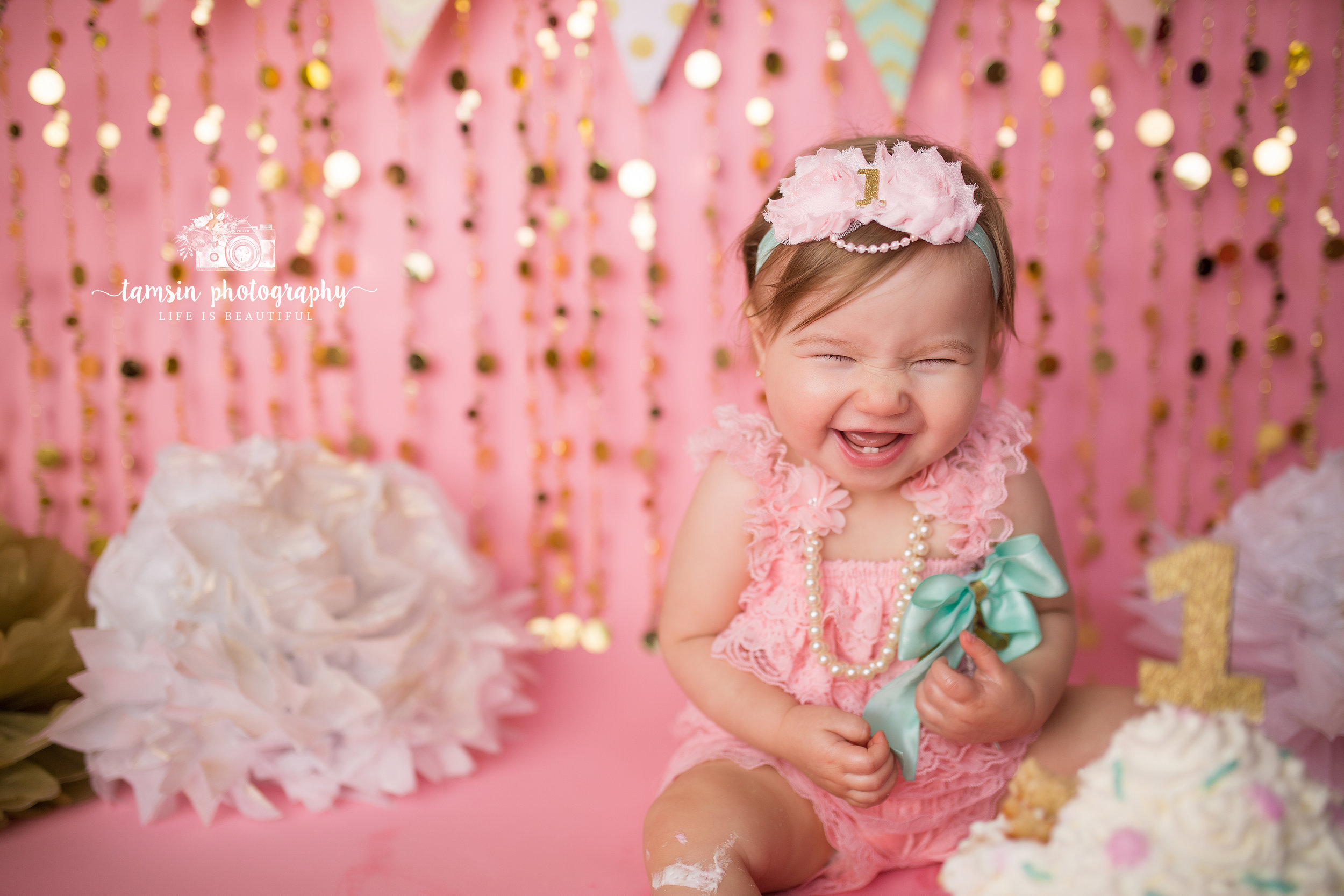 Pink Gold Mint Cake Smash One Year Coral Seamless Tamsin Photography Florida.jpg
