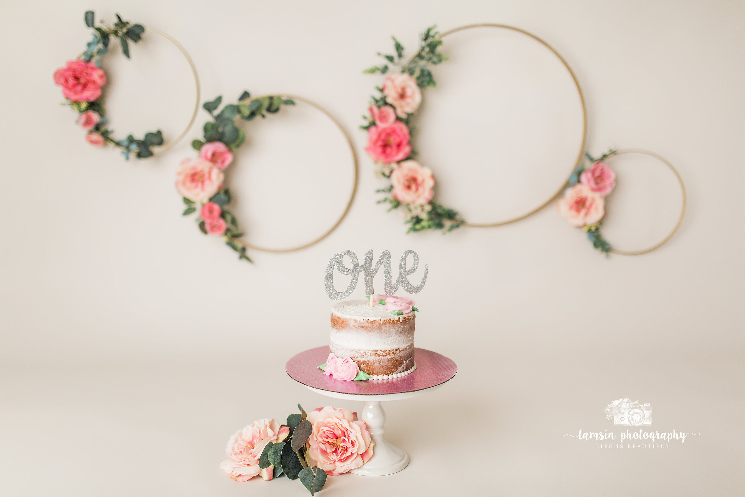 Floral Hoops Cake Smash Pink Roses Tamsin Photography.jpg